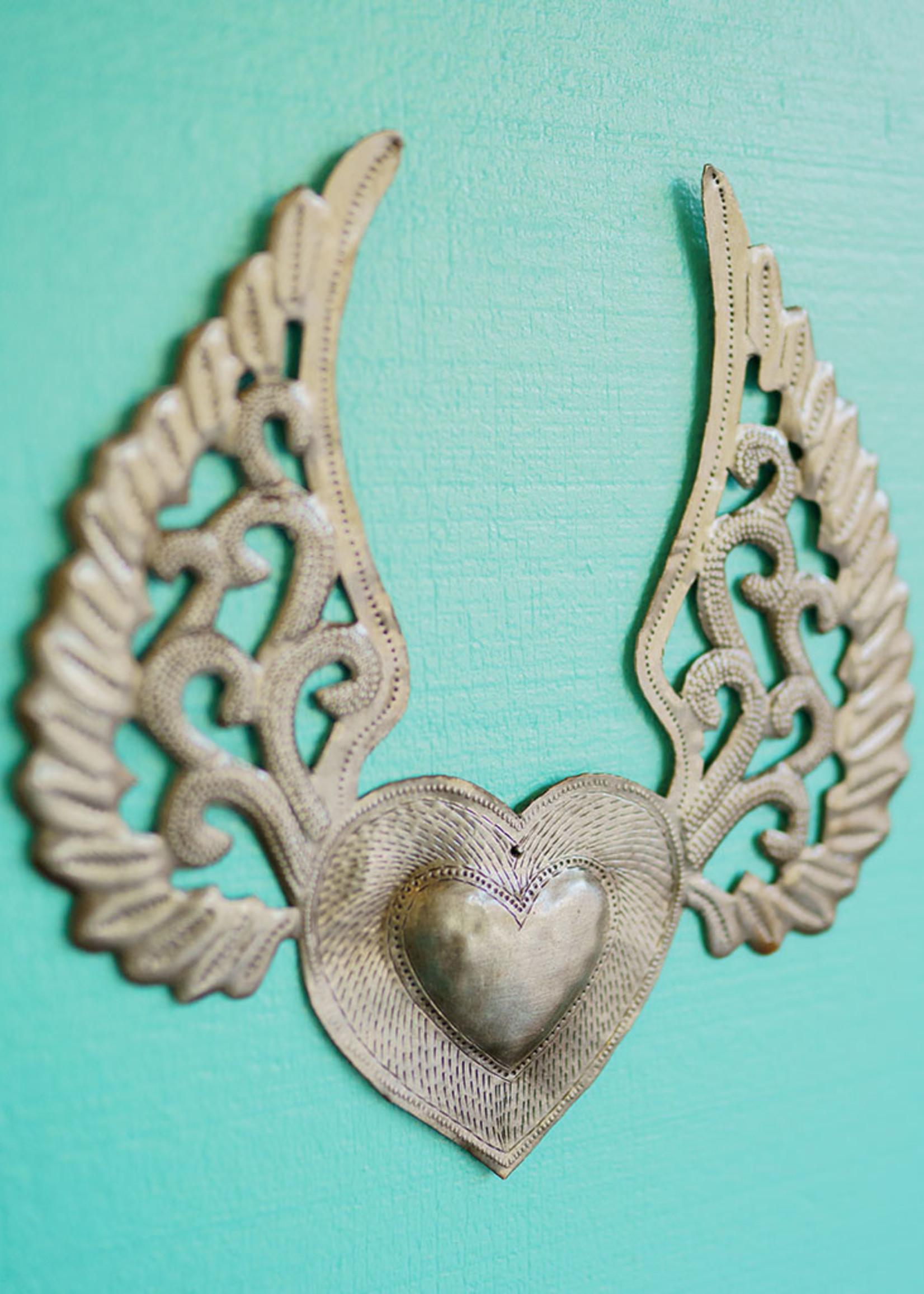 Assorted Winged Heart Metal Art