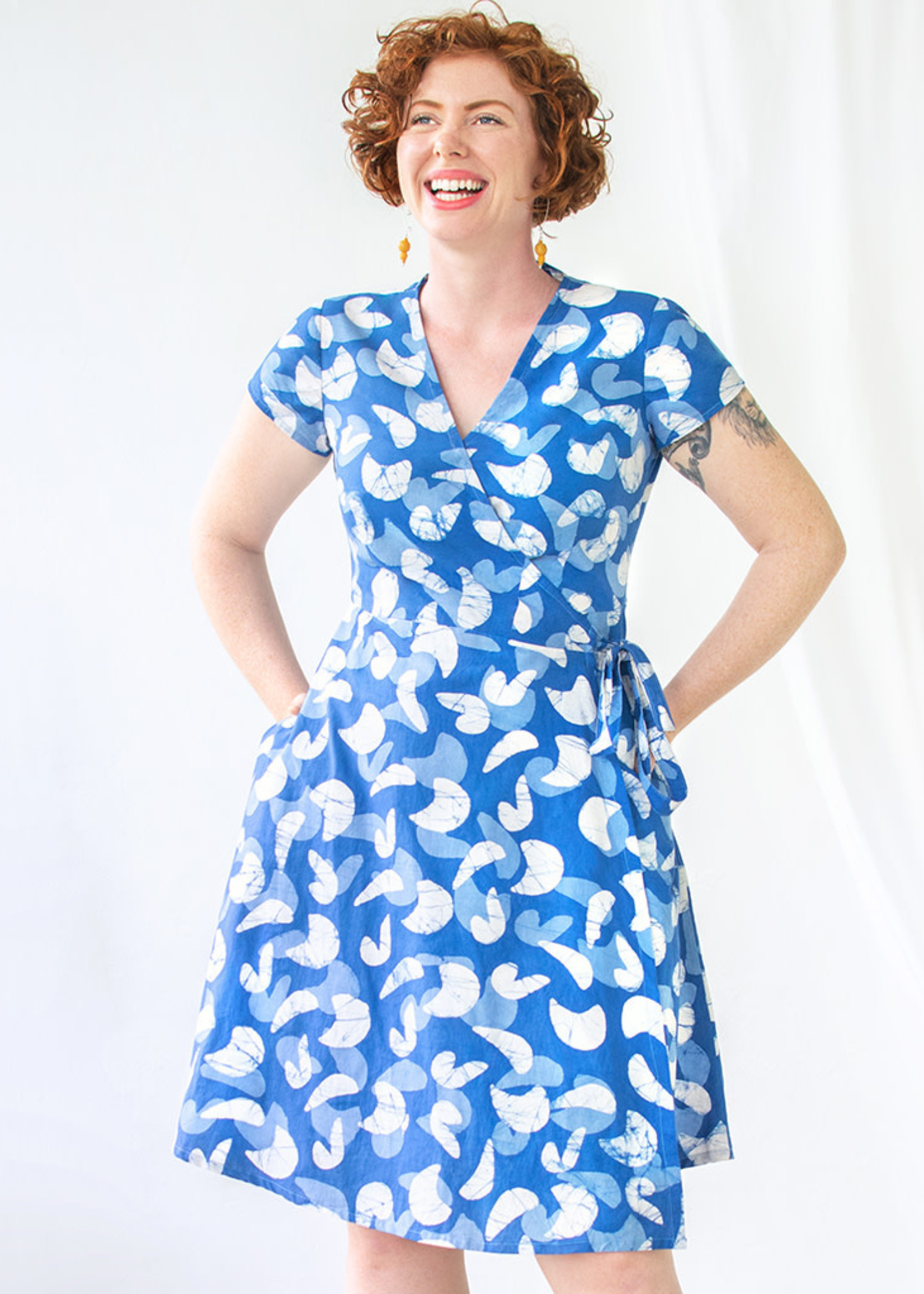 Global Mamas Mod Blue Wrap Dress