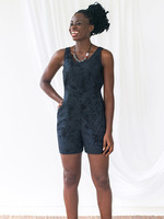 Global Mamas Black Marble Romper