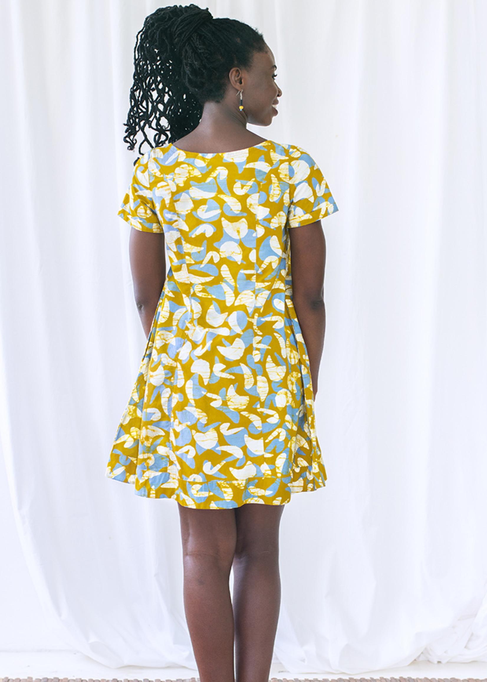 Global Mamas Button Front Mod Mustard Dress