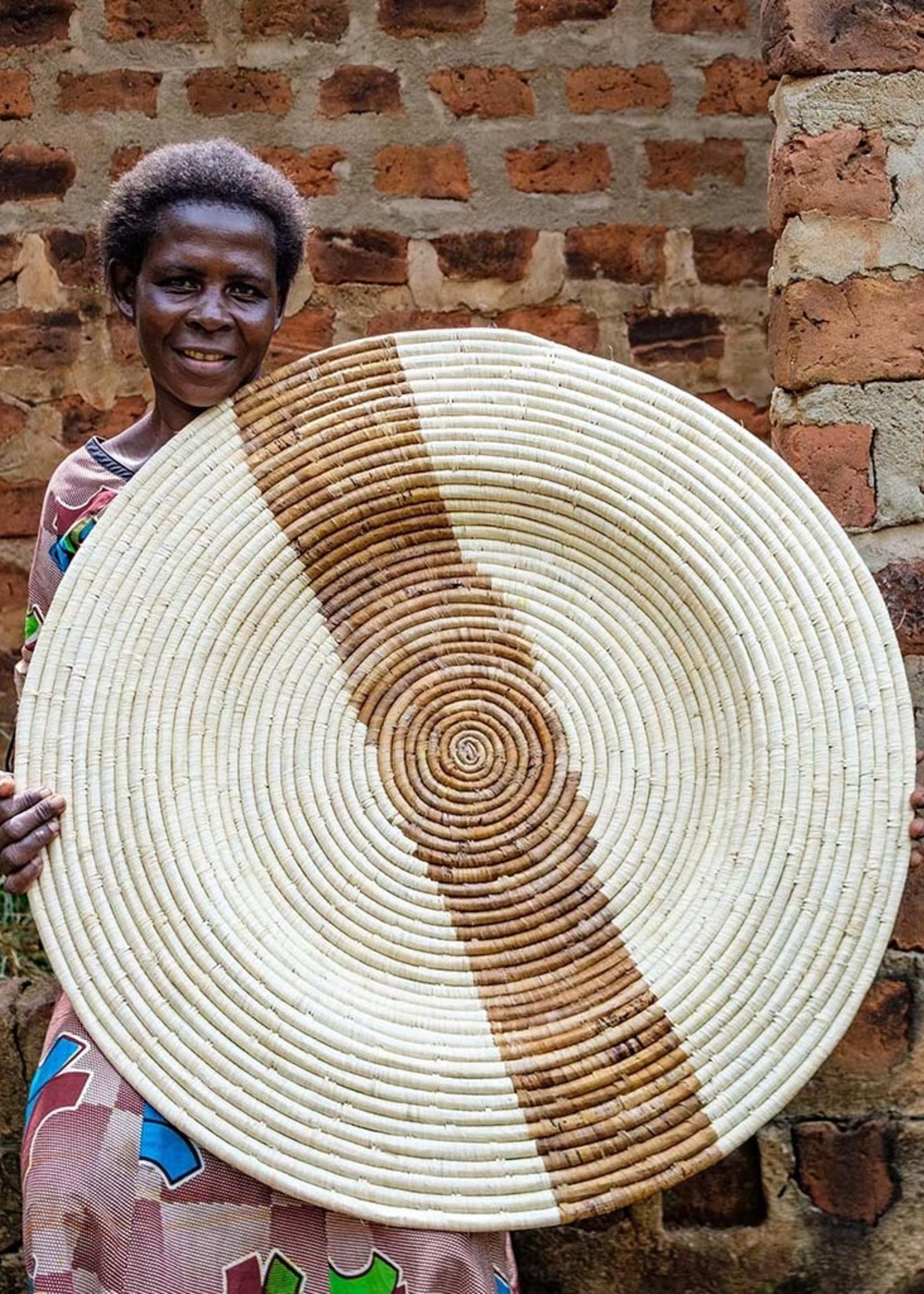 """Kazi 32"""" Banana Leaf Stripe Jumbo Wall Plate"""