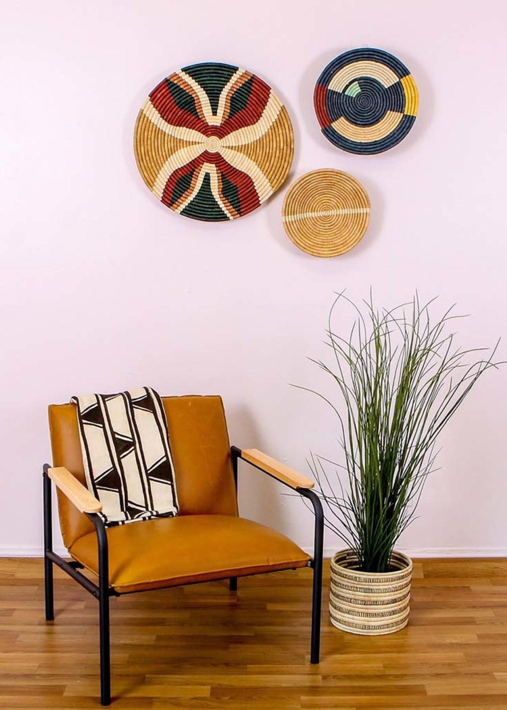 """Kazi 21"""" Forest Green + Burgundy Tabia Wall Plate"""