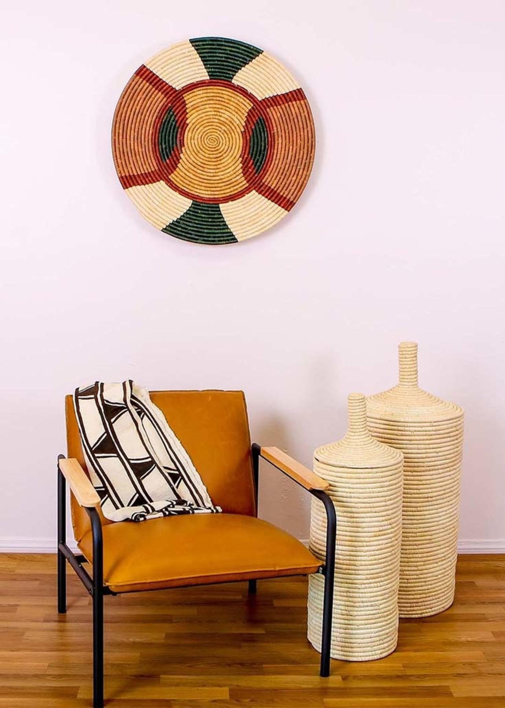 """Kazi 27"""" Forest Green + Burgundy Tabia Wall Plate"""