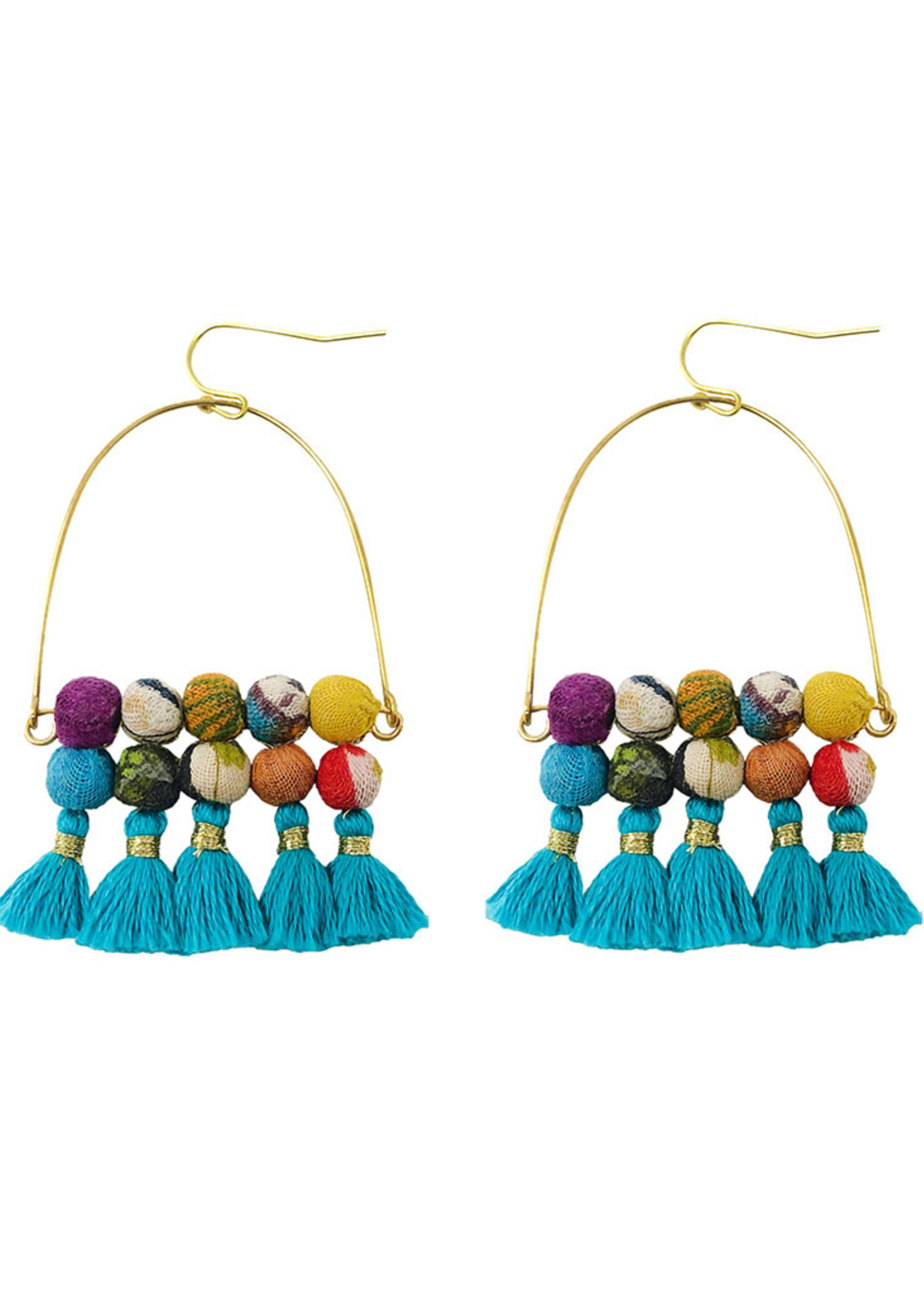 WorldFinds Arched Turquoise Tassel Earrings