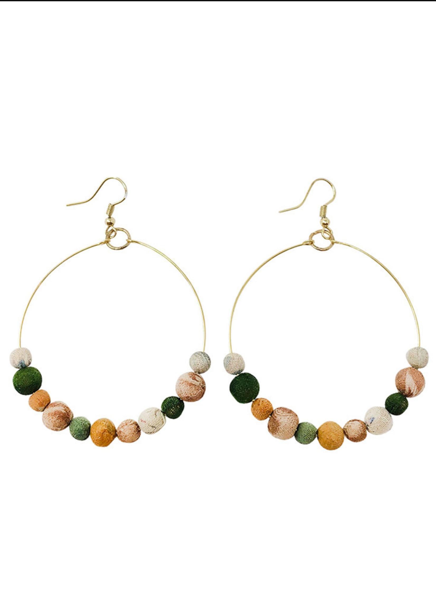 WorldFinds Kantha Terai Hoops Earrings