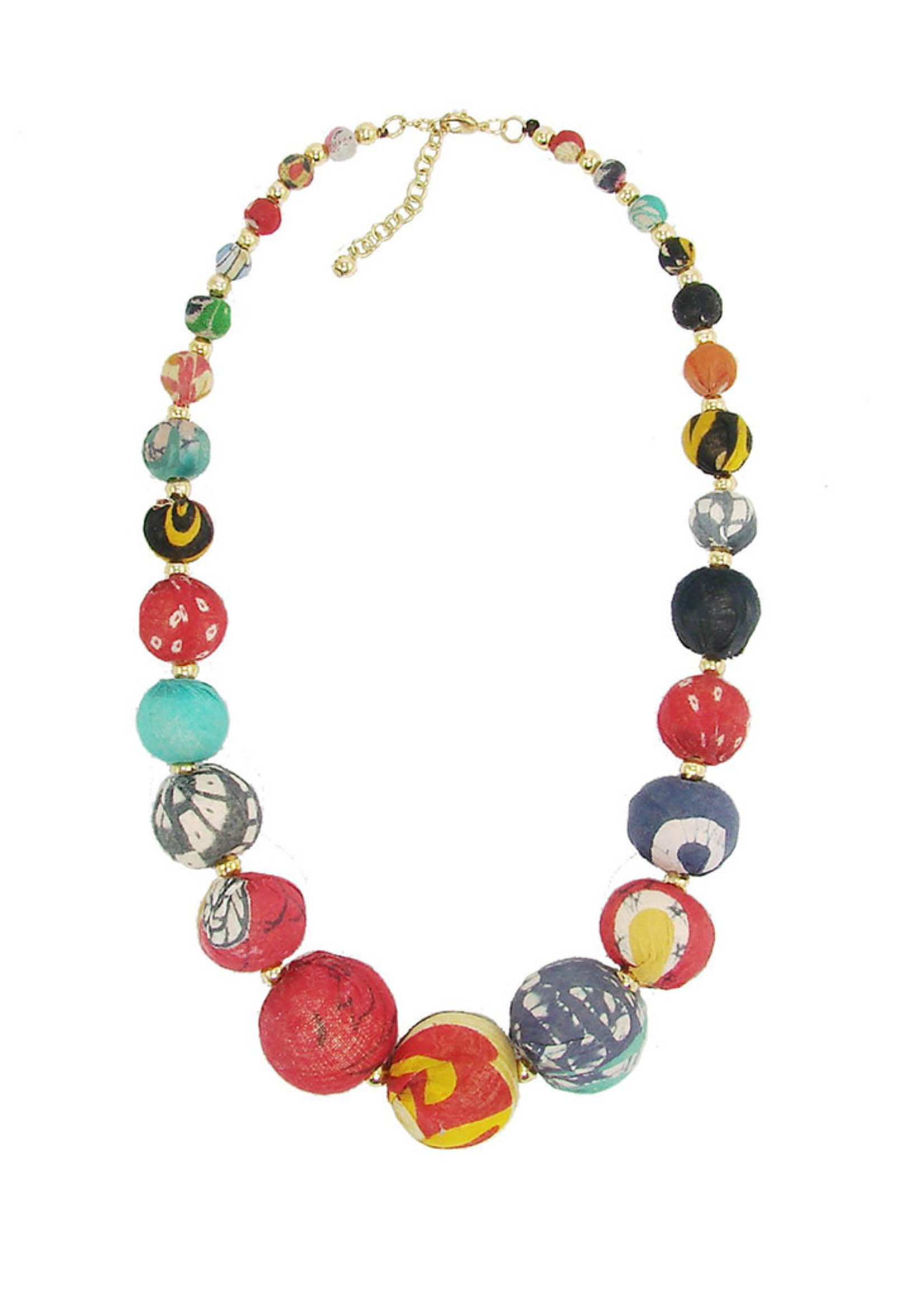 WorldFinds Kantha Graduated Bead Statement Necklace