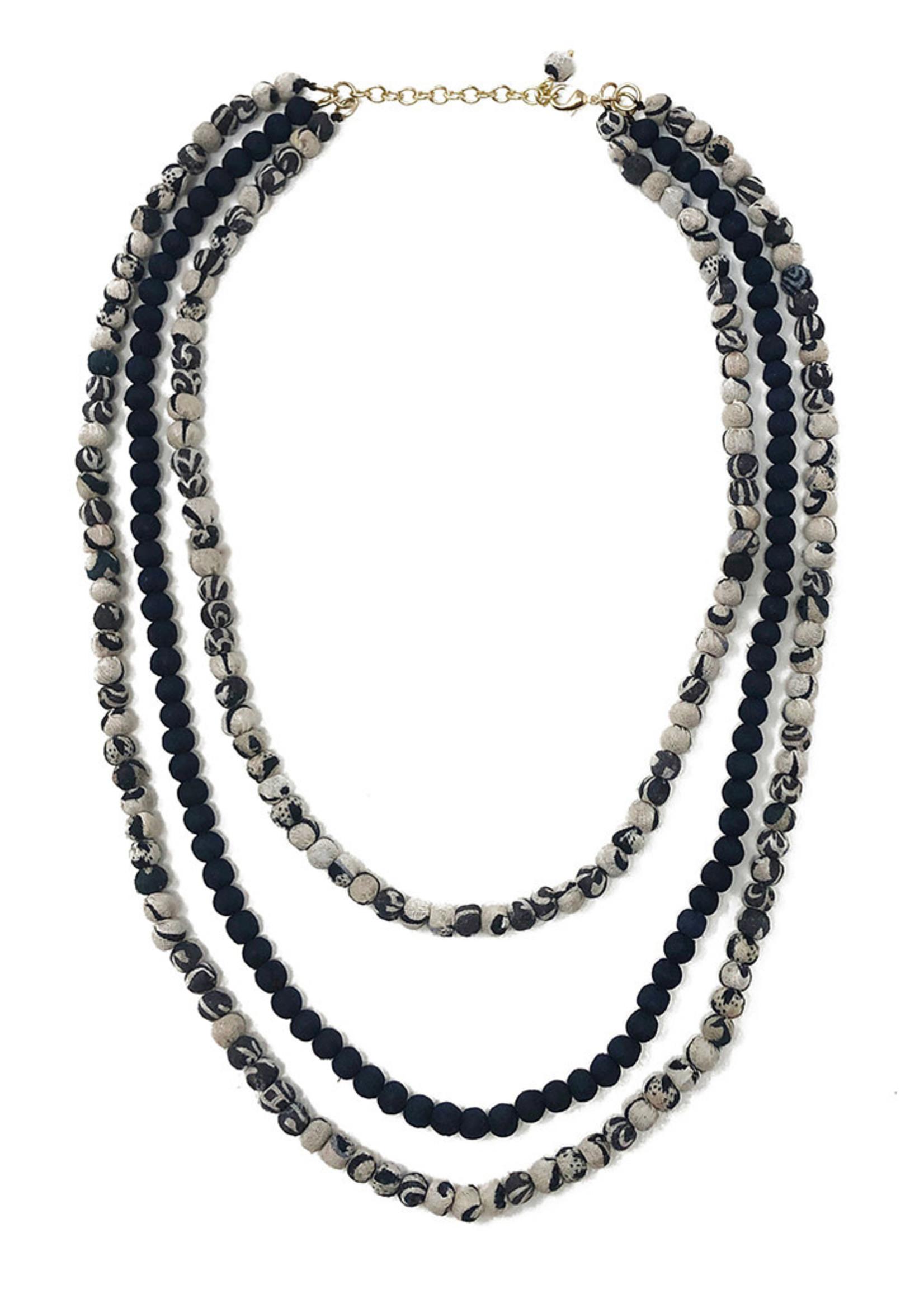 WorldFinds Kantha Indigo Layered Necklace