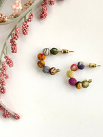 WorldFinds Kantha Tiny Hoops Earrings