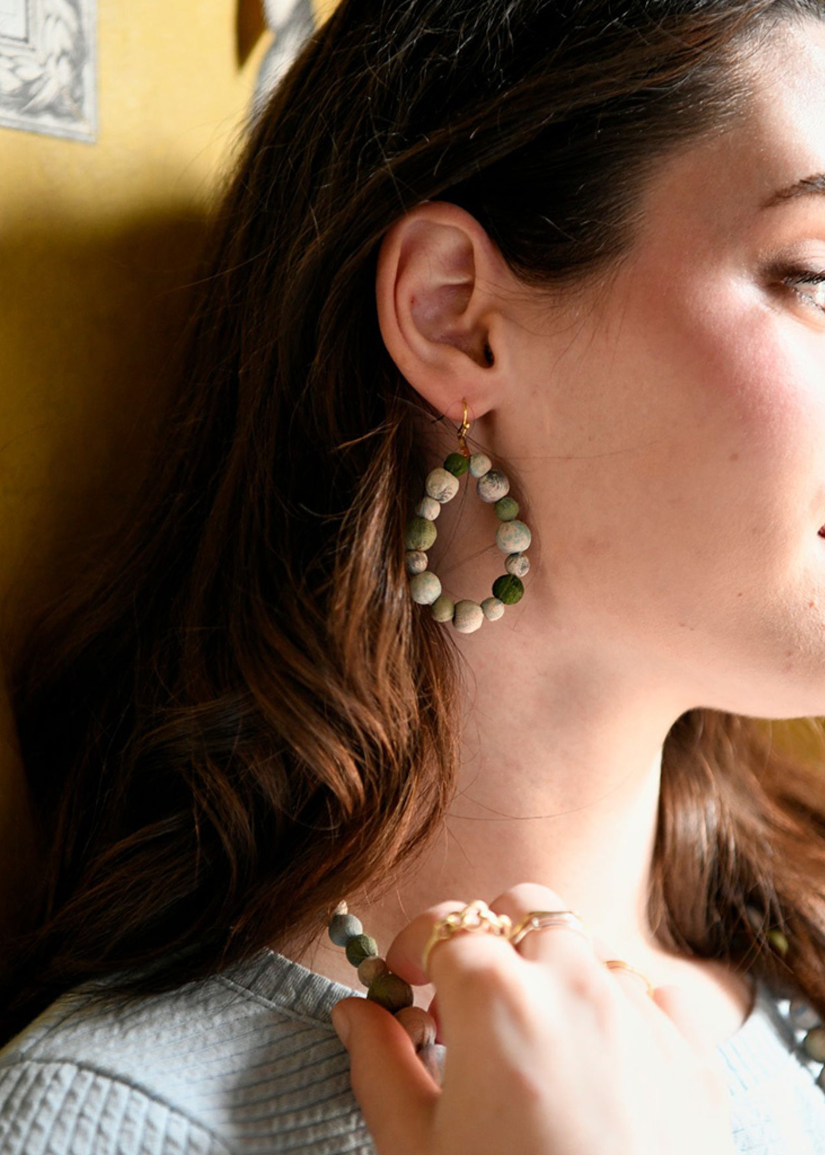 WorldFinds Kantha Waves Teardrop Earrings