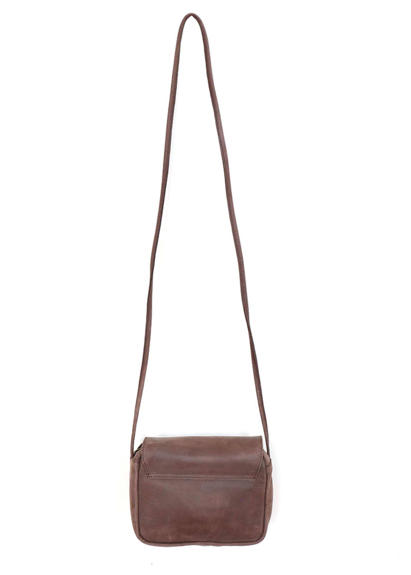 Roam Chocolate Leather Crossbody Purse