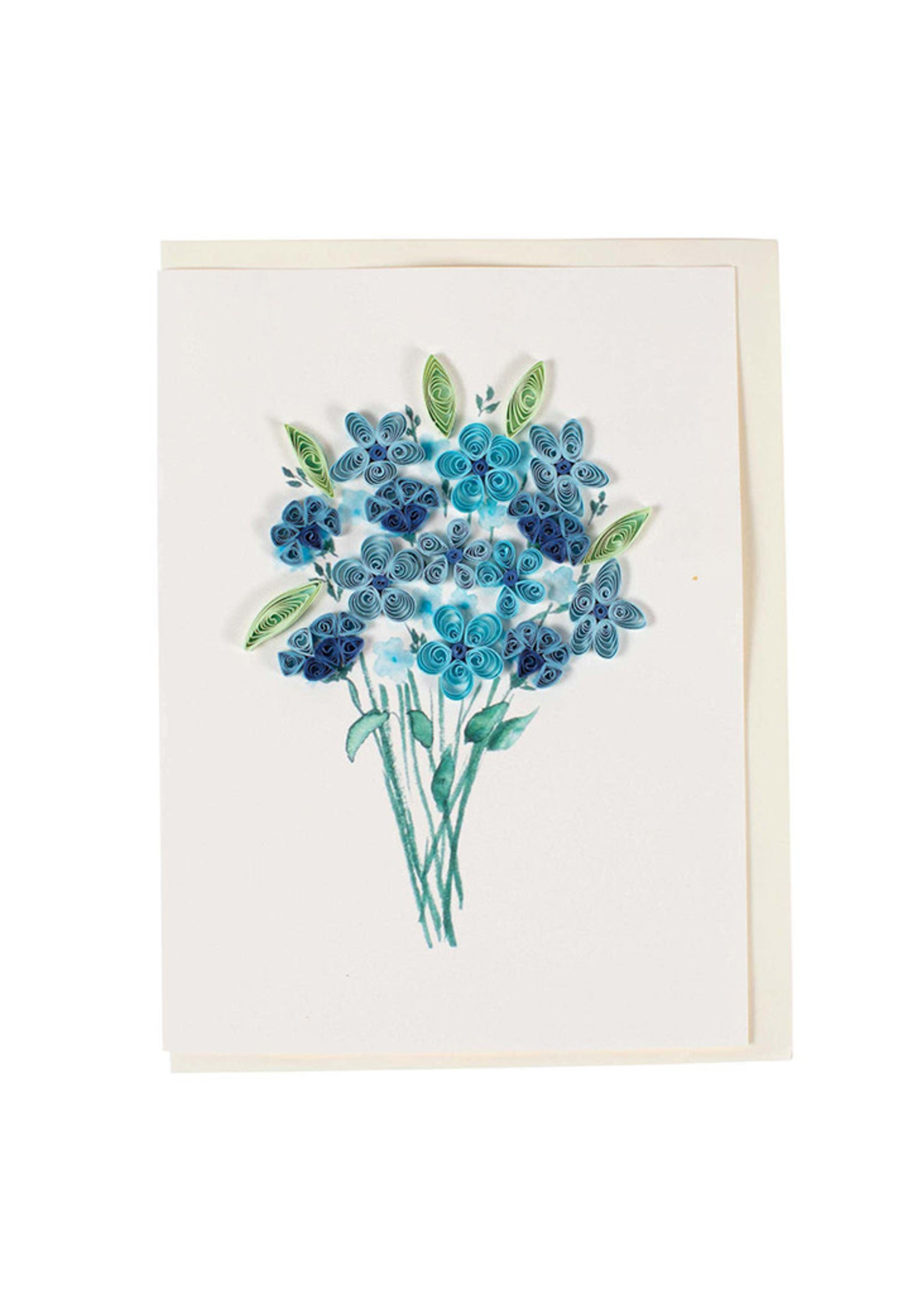 Quilled Blue Flower Bouquet Card