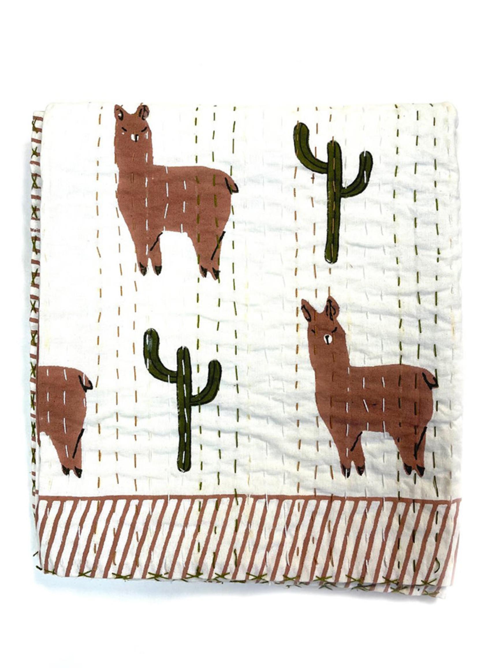 Block Print Llama Quilt