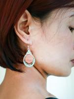 Forai Luzmila Triple Peach Calcite Silver Earrings