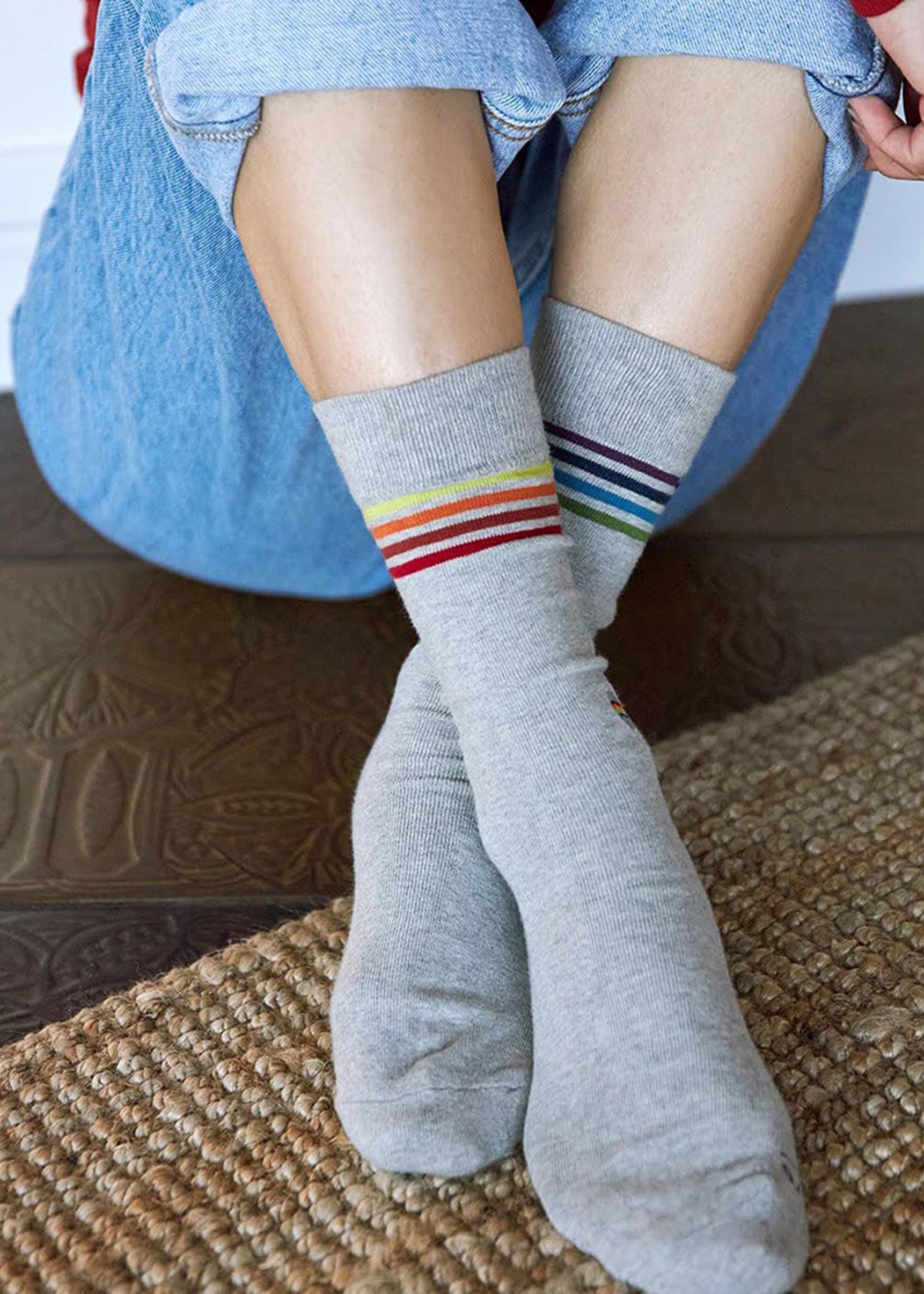 Conscious Step Men's Socks Saves LGBTQ Lives [Gray]