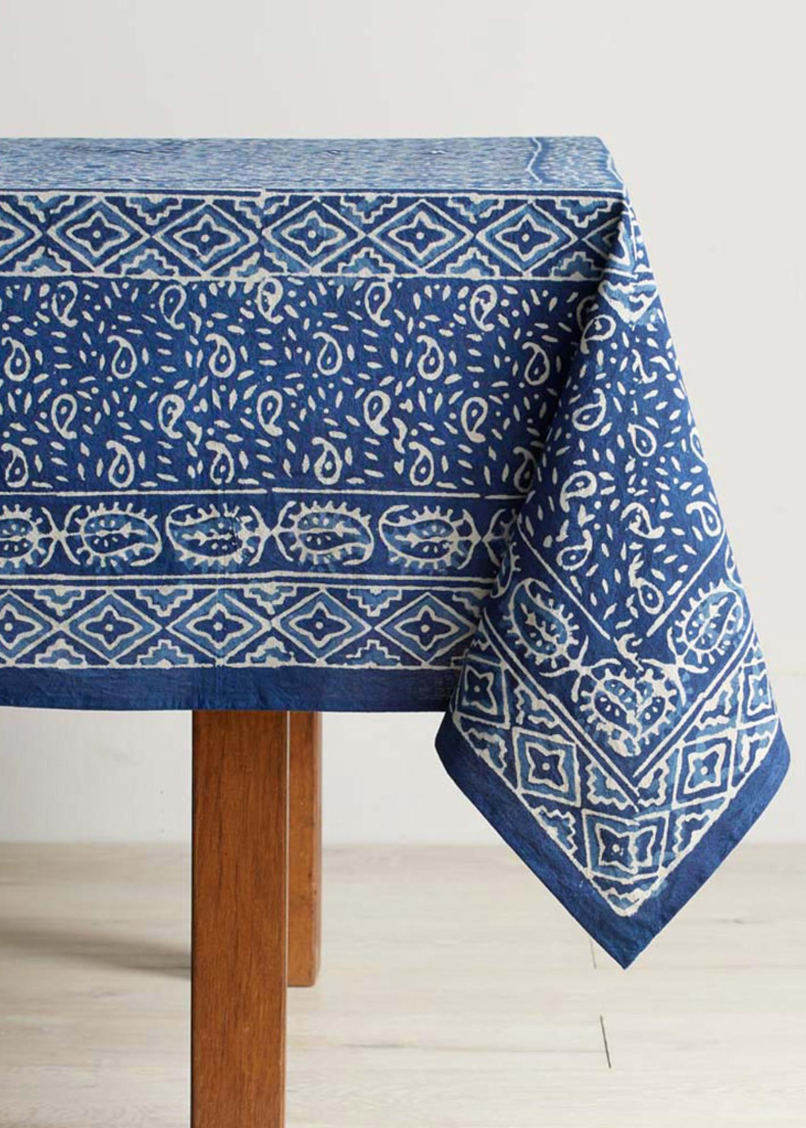 Indigo Wave Dabu Tablecloth