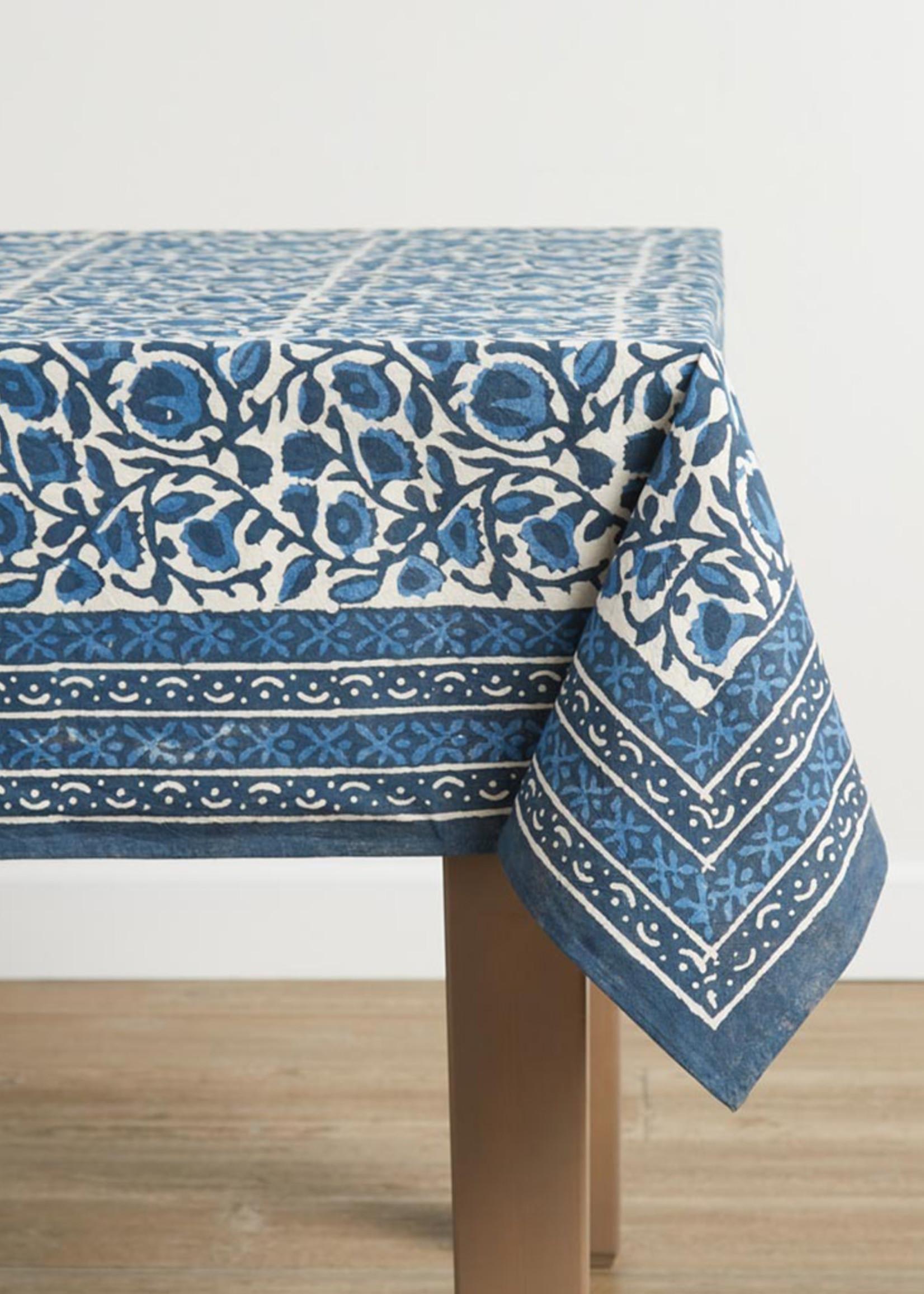 Indigo Floral Dabu Tablecloth