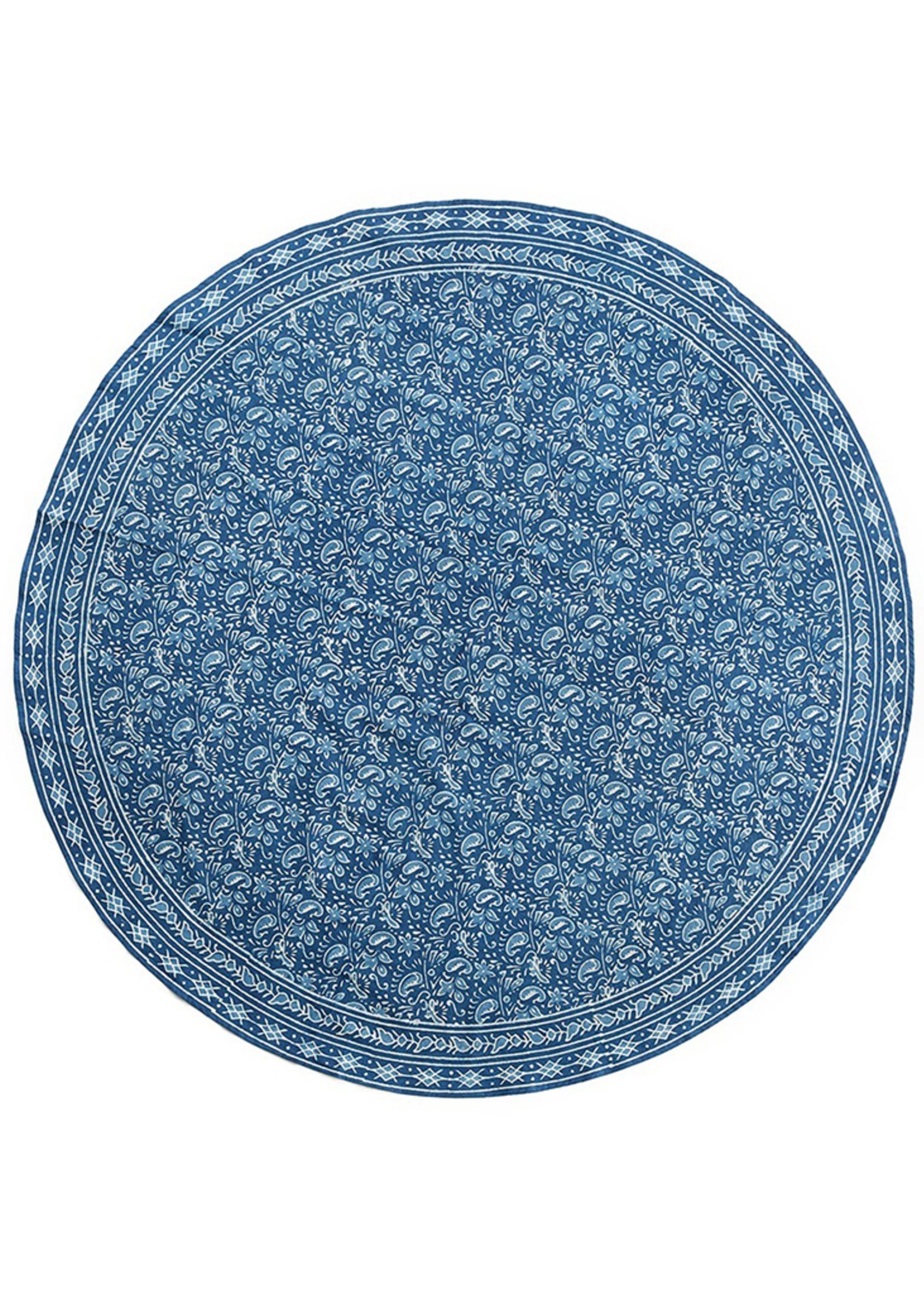 Floral Indigo Round Tablecloth