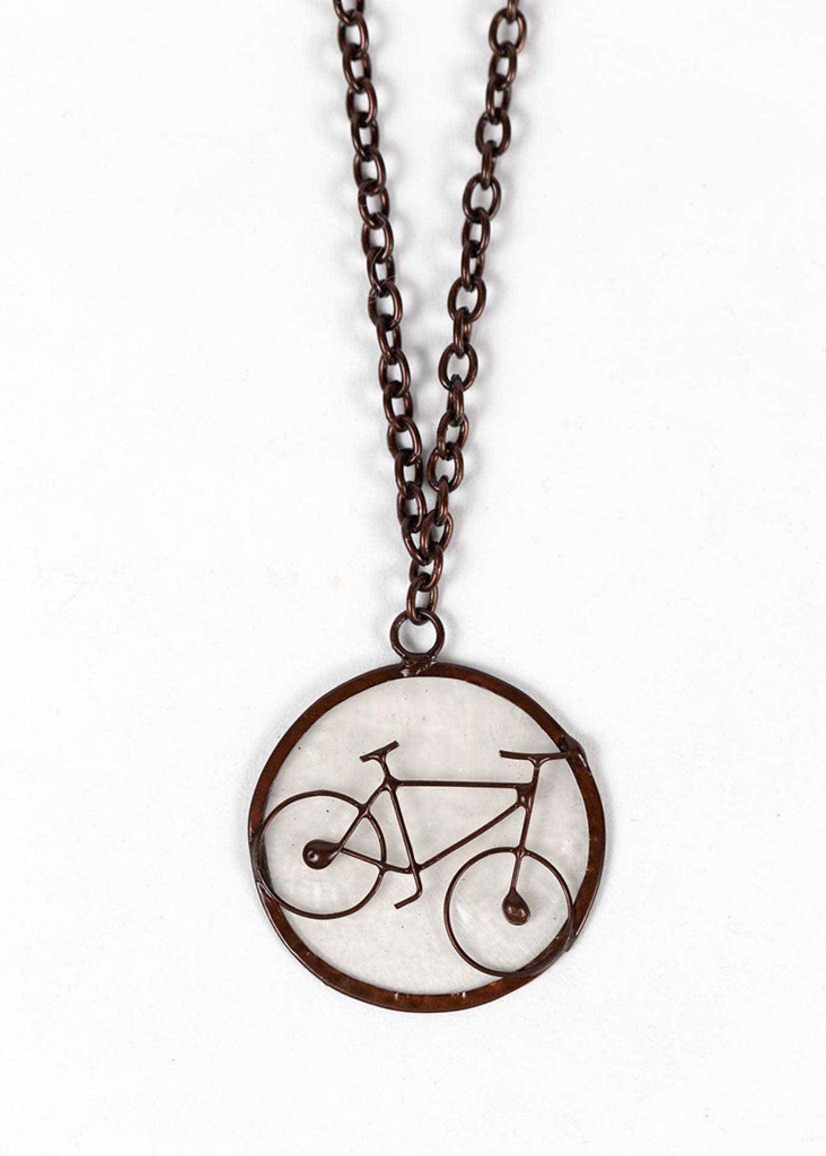 Saffy Handicrafts Capiz Bike Pendant Necklace