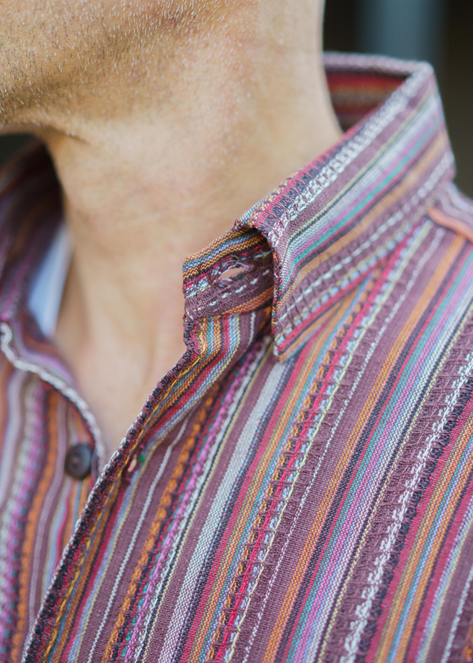 Ganesh Himal Brown Honeycomb Stripe Shirt