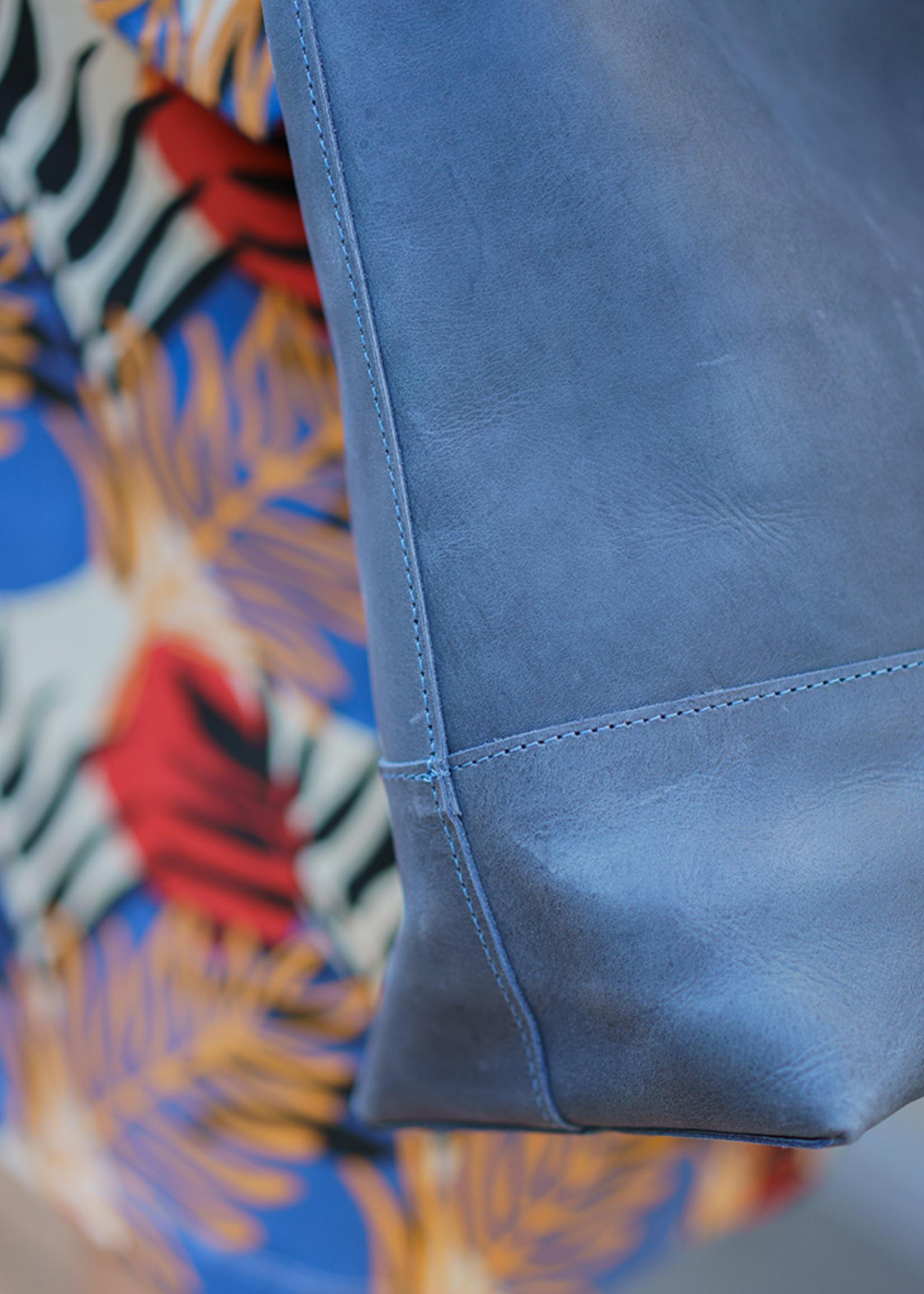 Venture Blue Leather Tote