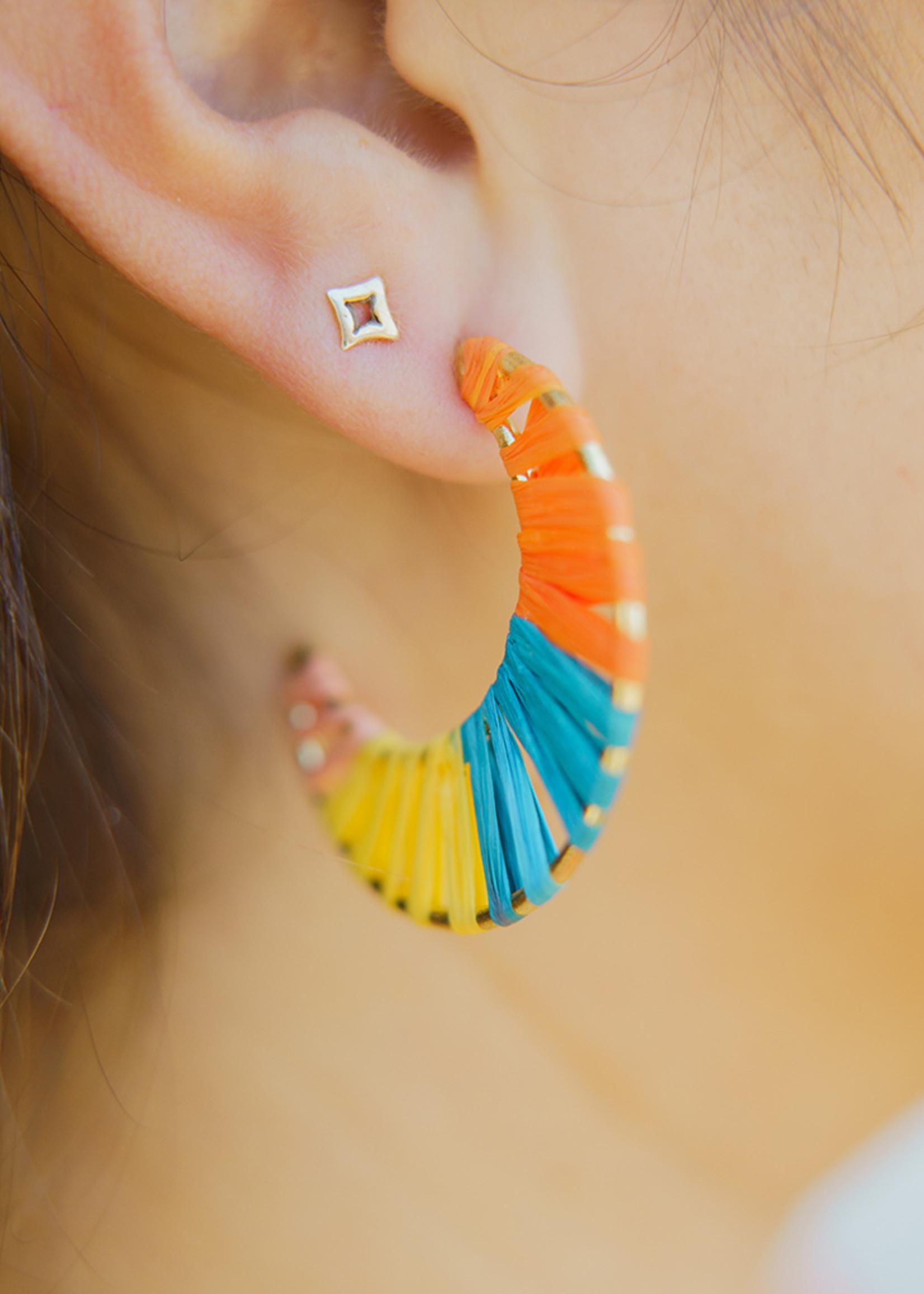 Tara Projects Wrapped Crescent Raffia Hoop Earrings