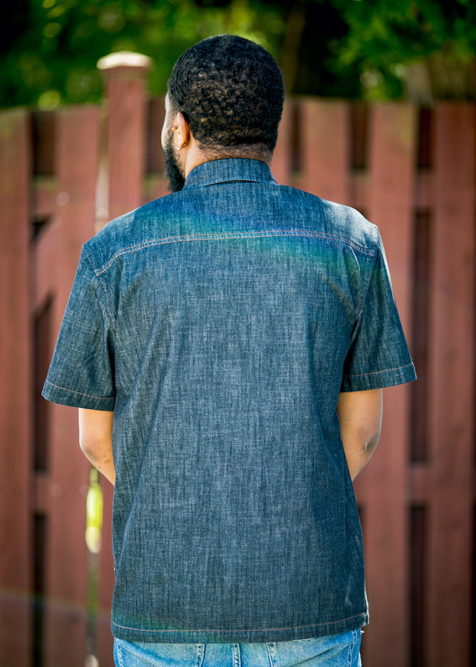 Slim Fit Black Denim Shirt