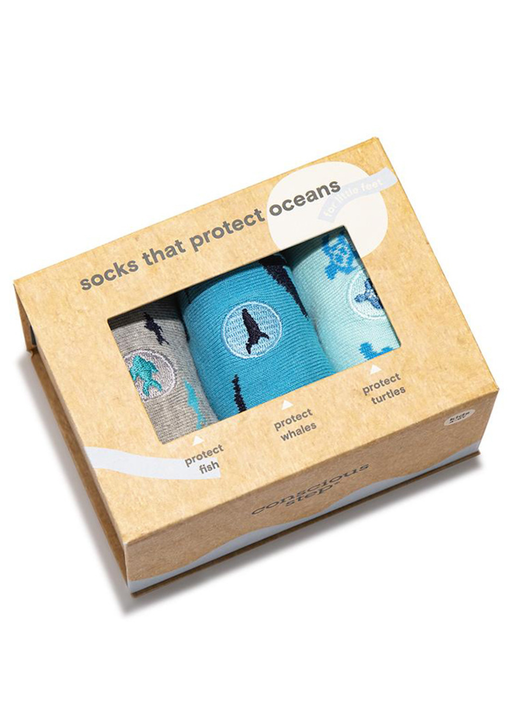 Conscious Step Kid's Sock Box Protects Oceans 4-6Y