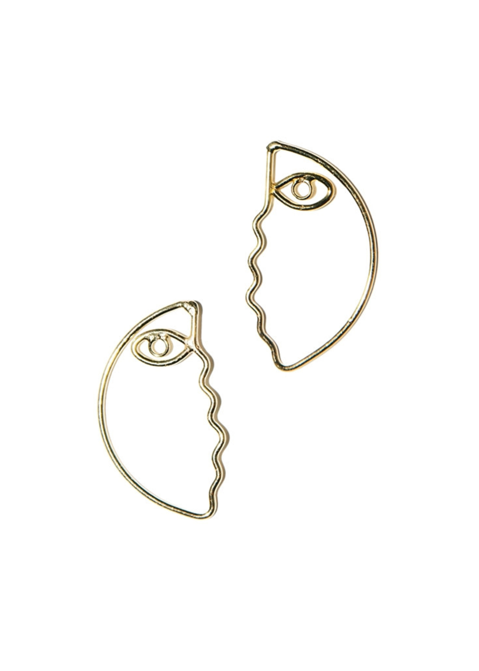 Abstract Face Outline Earrings
