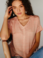 Peach Handloom Stitch Top
