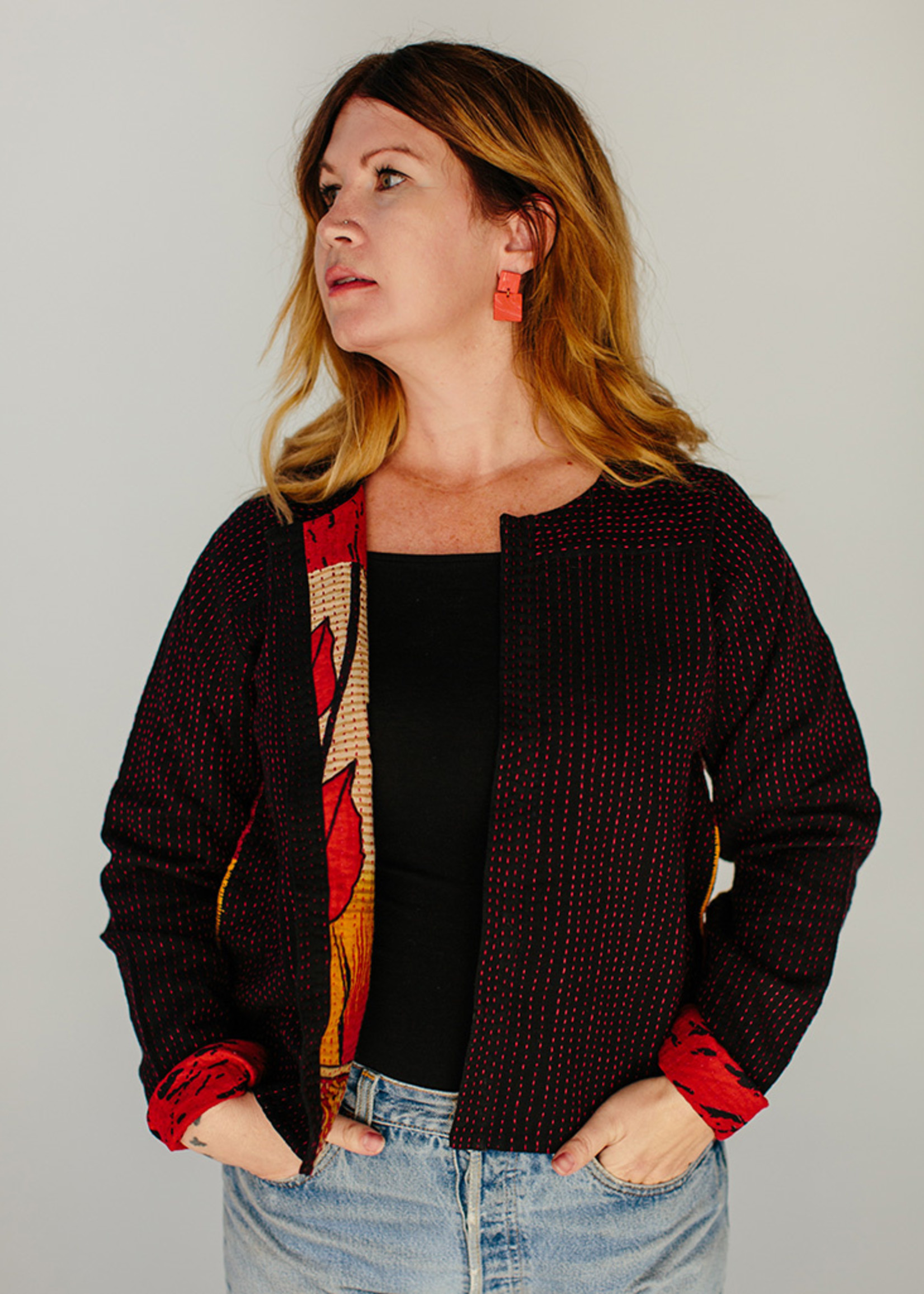 Red Kantha Stitch Jacket