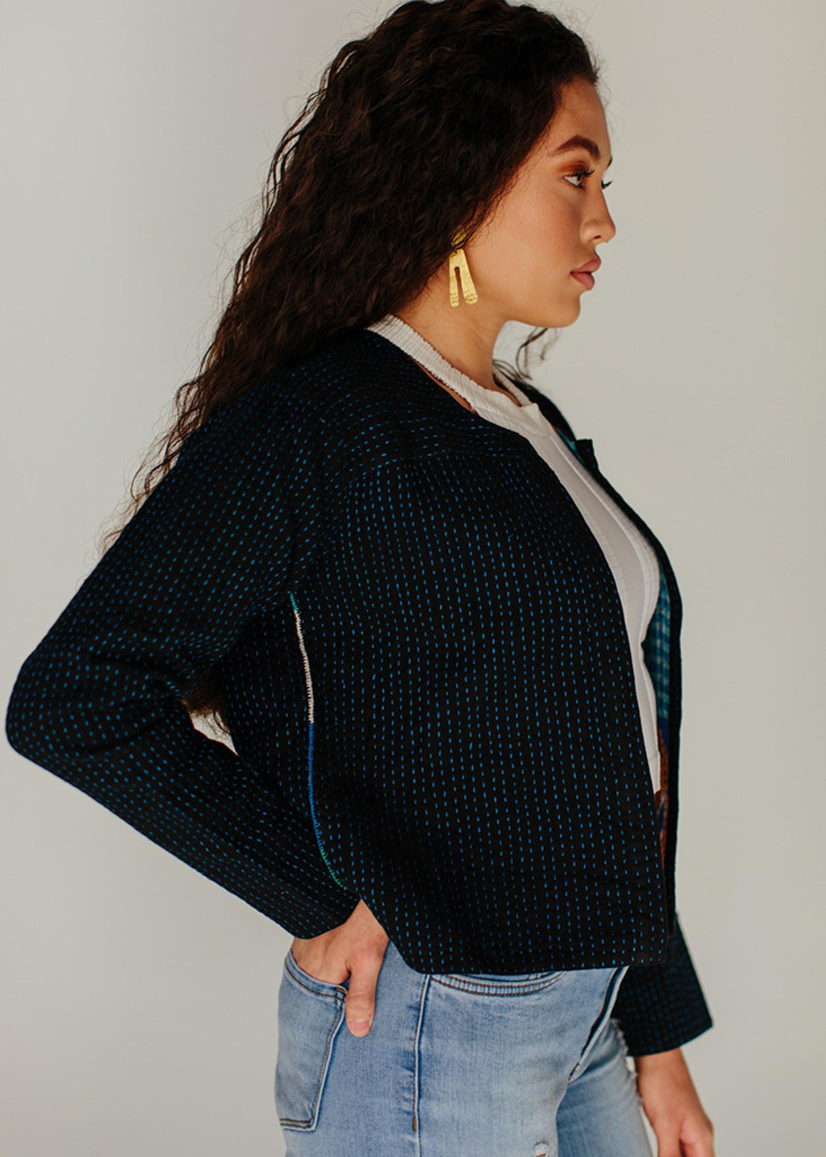 Blue Kantha Stitch Jacket