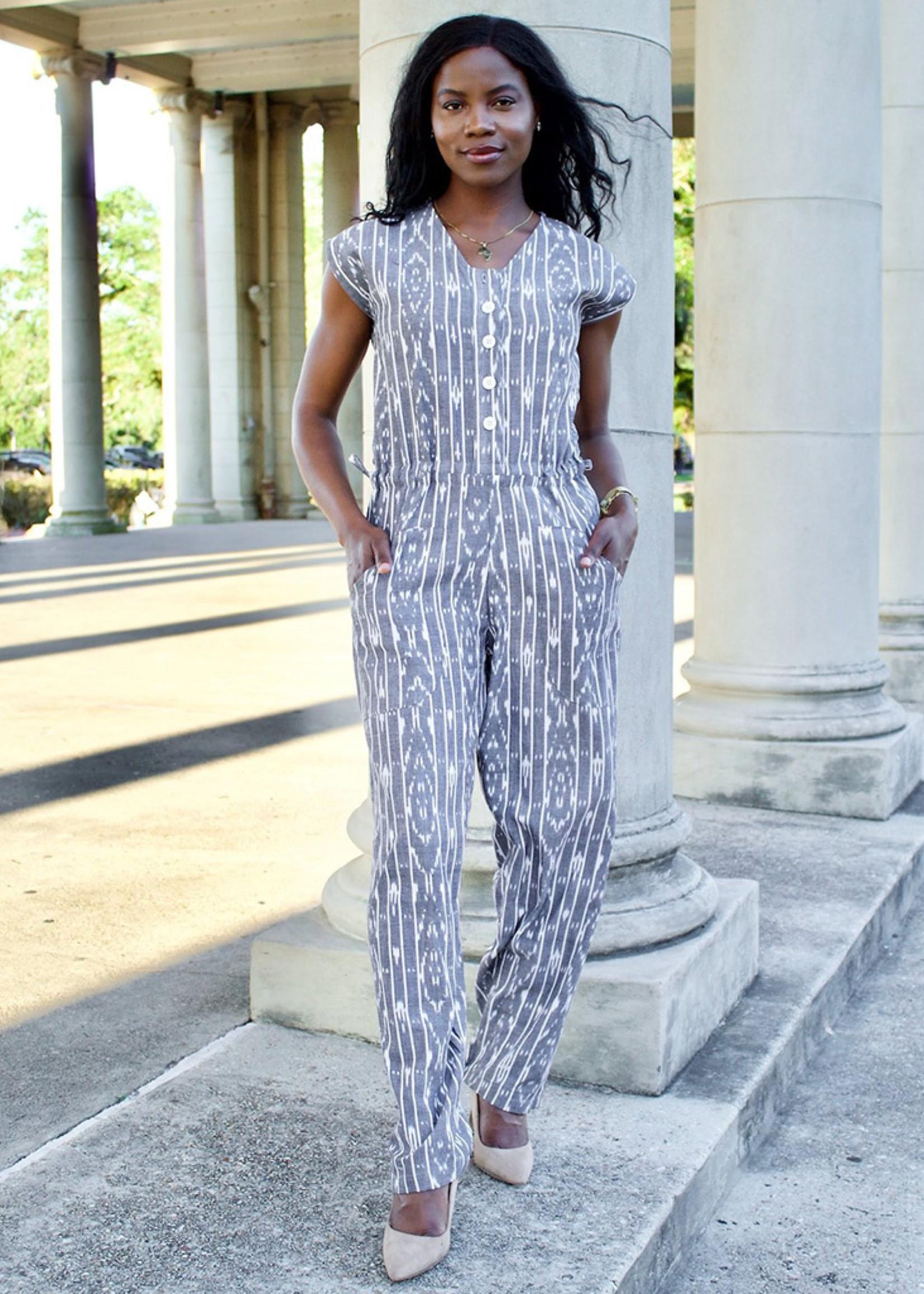 Passion Lilie Slate Stripe Jumpsuit