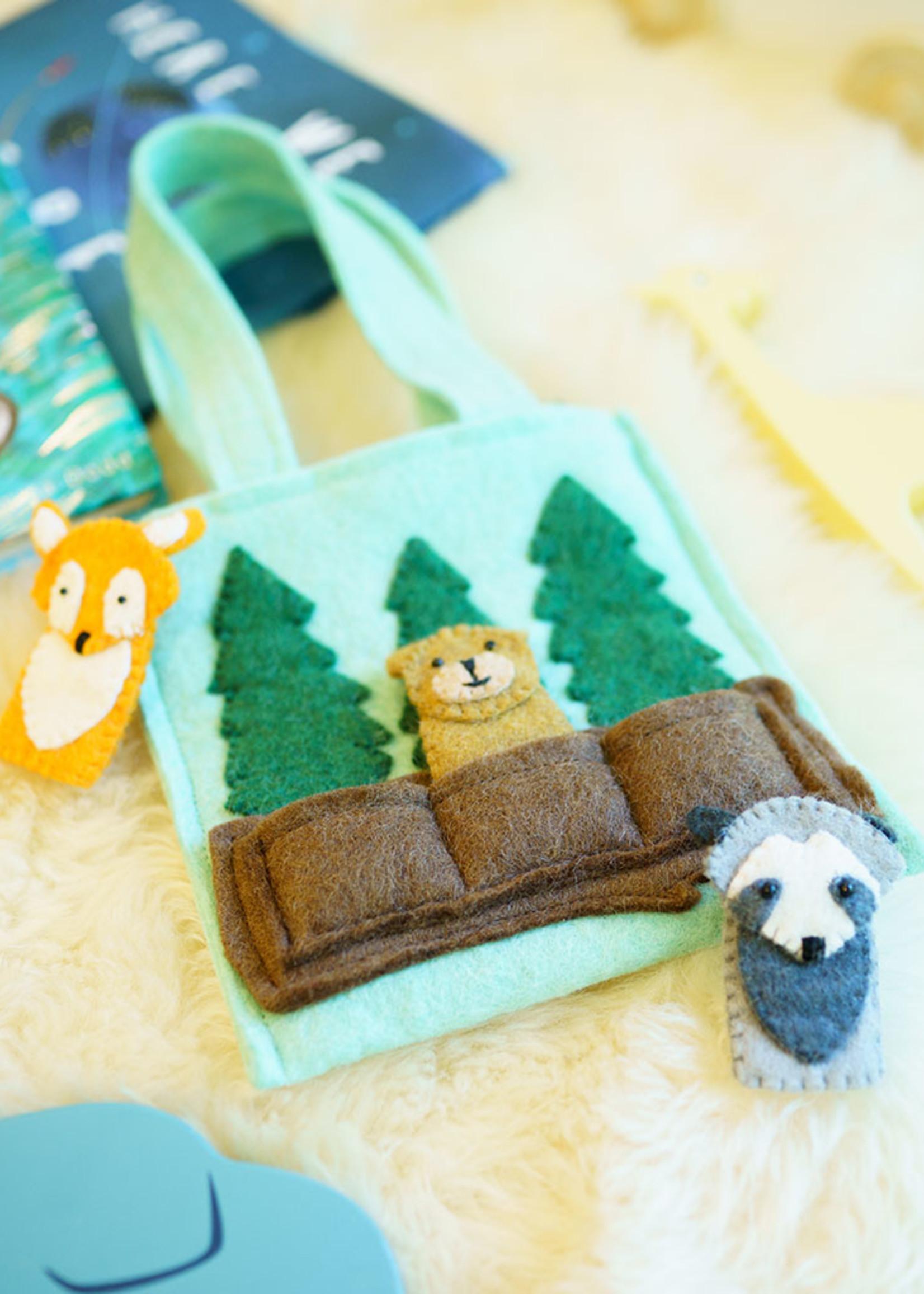 Global Goods Partners Felt Woodland Friends Puppet Bag