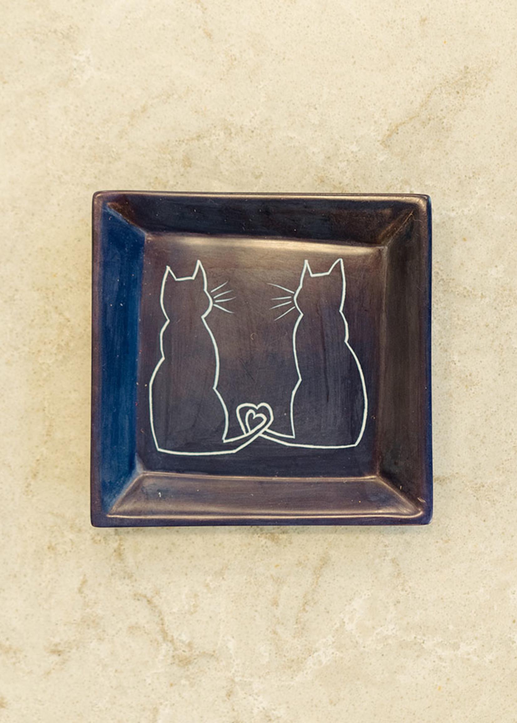 Cat Couple Soapstone Dish