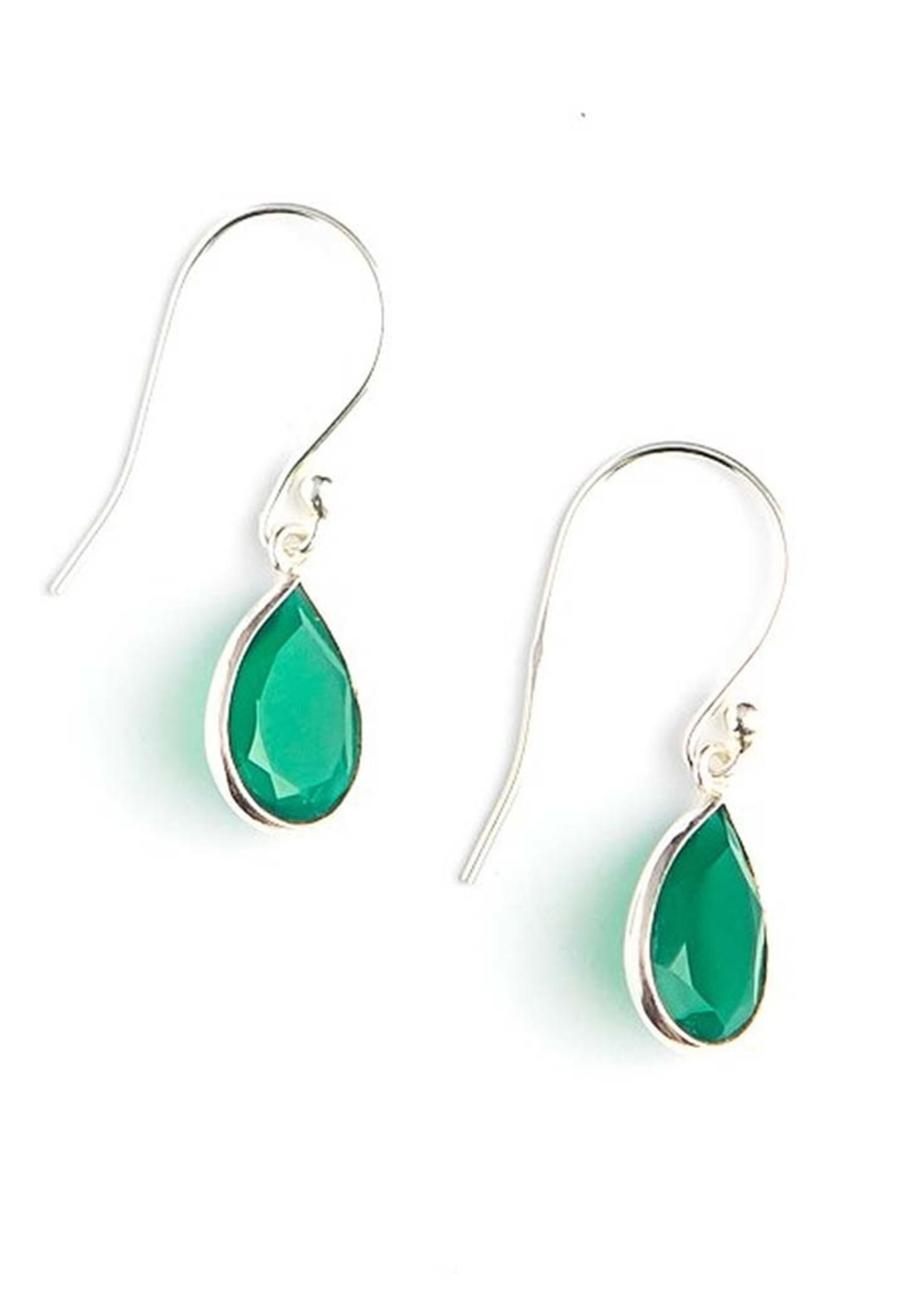Raindrop Green Onyx Earrings