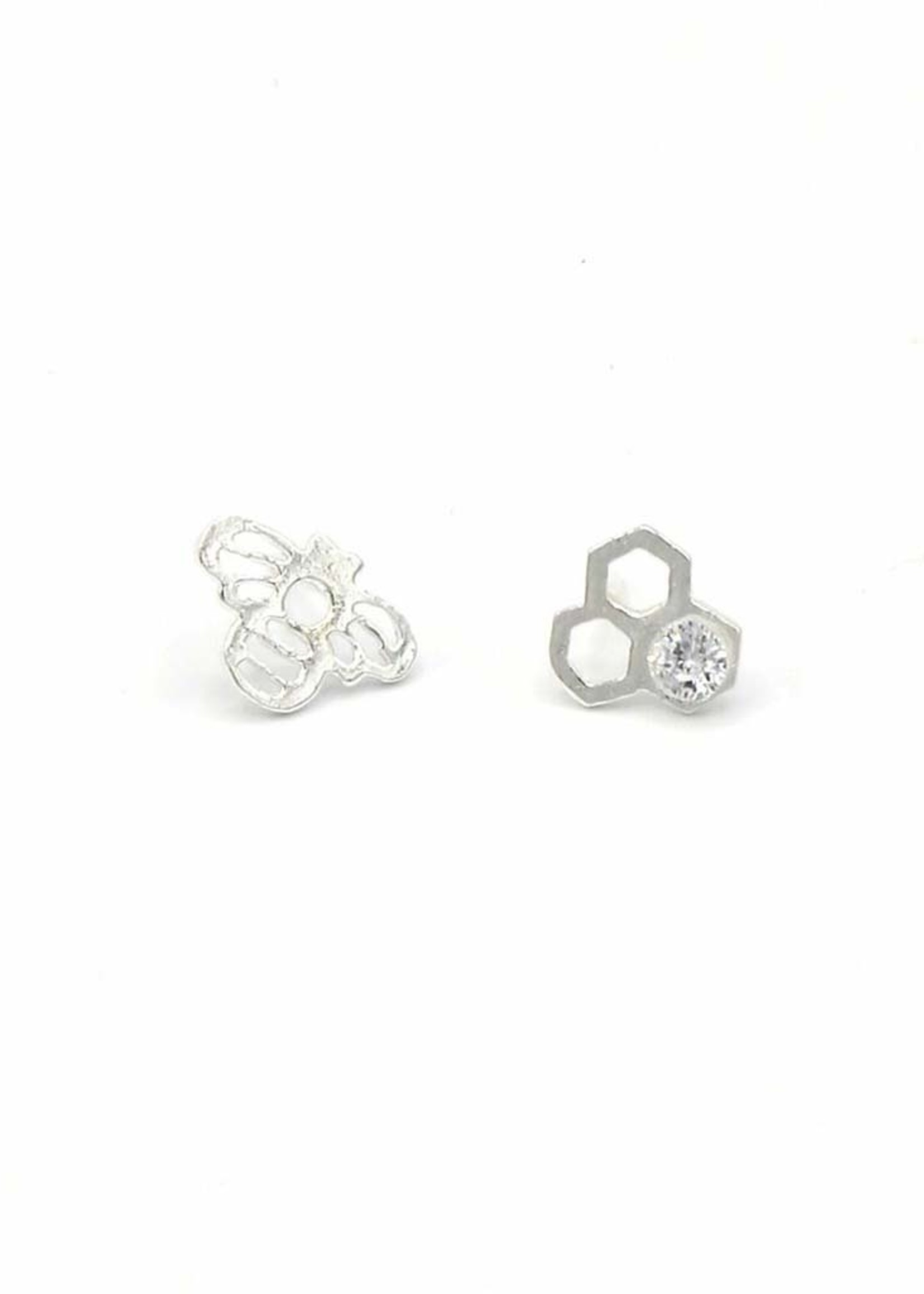 Honeycomb & Bee Stud Earrings