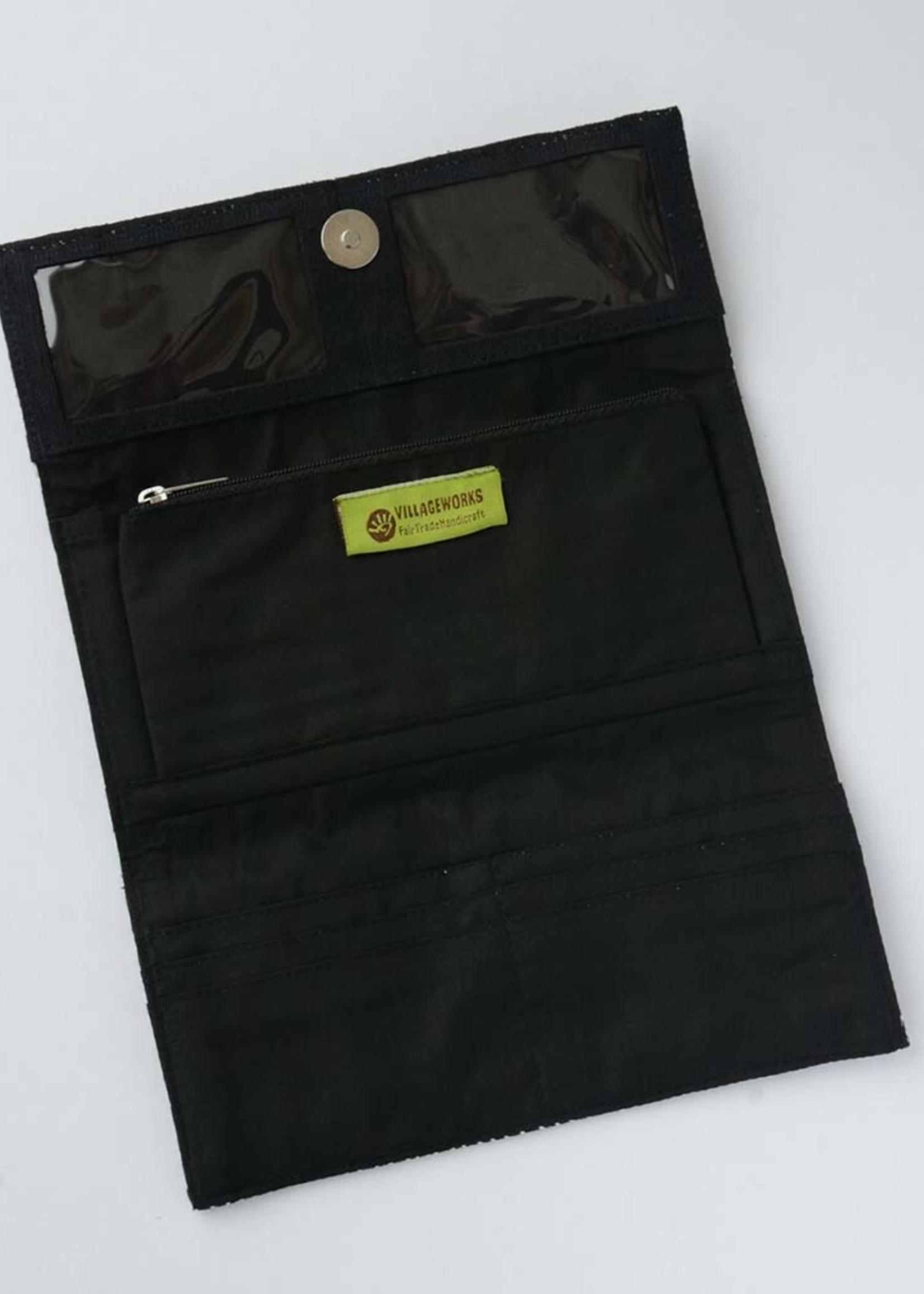 Black Matchstick Wallet Clutch