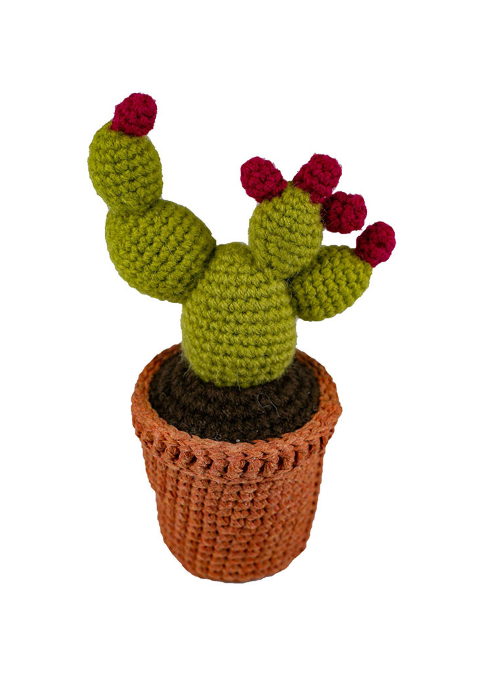 Knit Cactus Plant with Pink Flowers