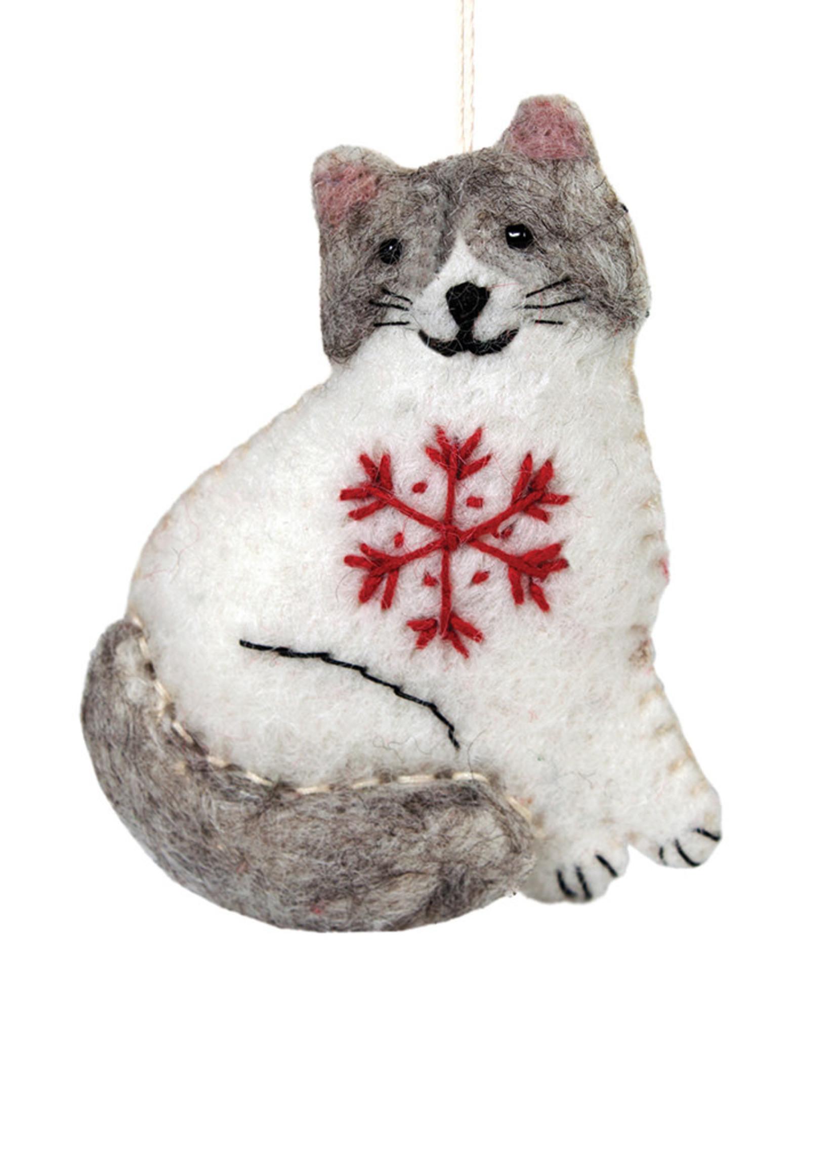 dZi Snowflake Ragamuffin the Cat Ornament