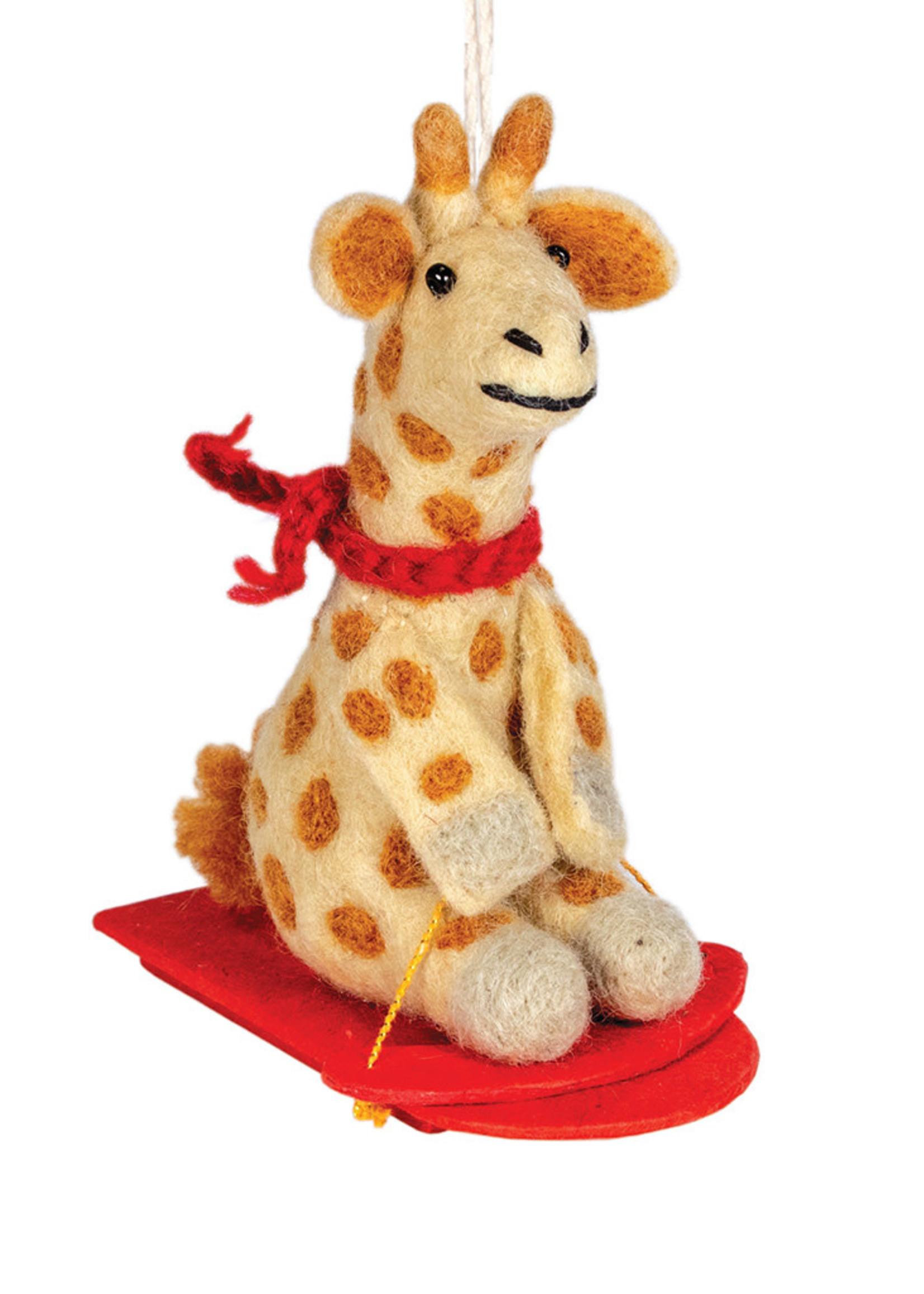 dZi Sledding Giraffe Ornament