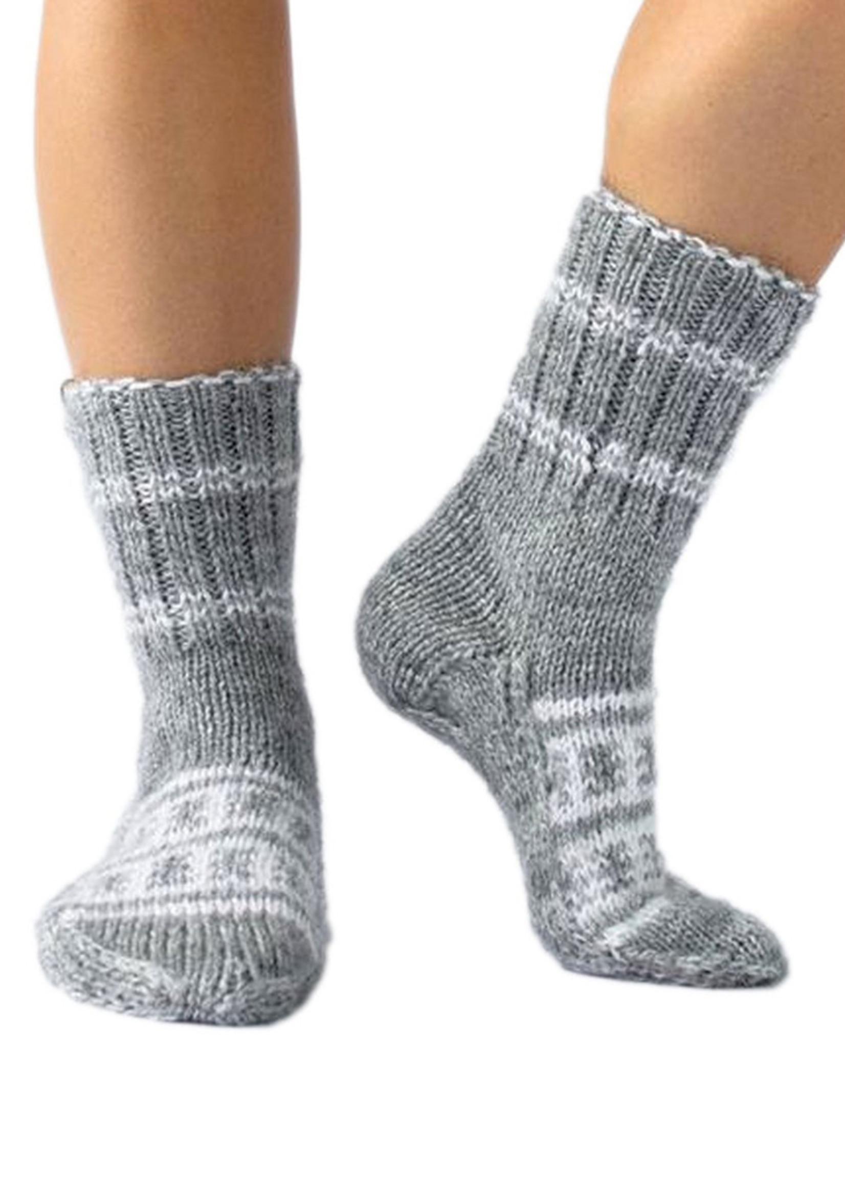 Shanti (Peace) Grey & White Socks