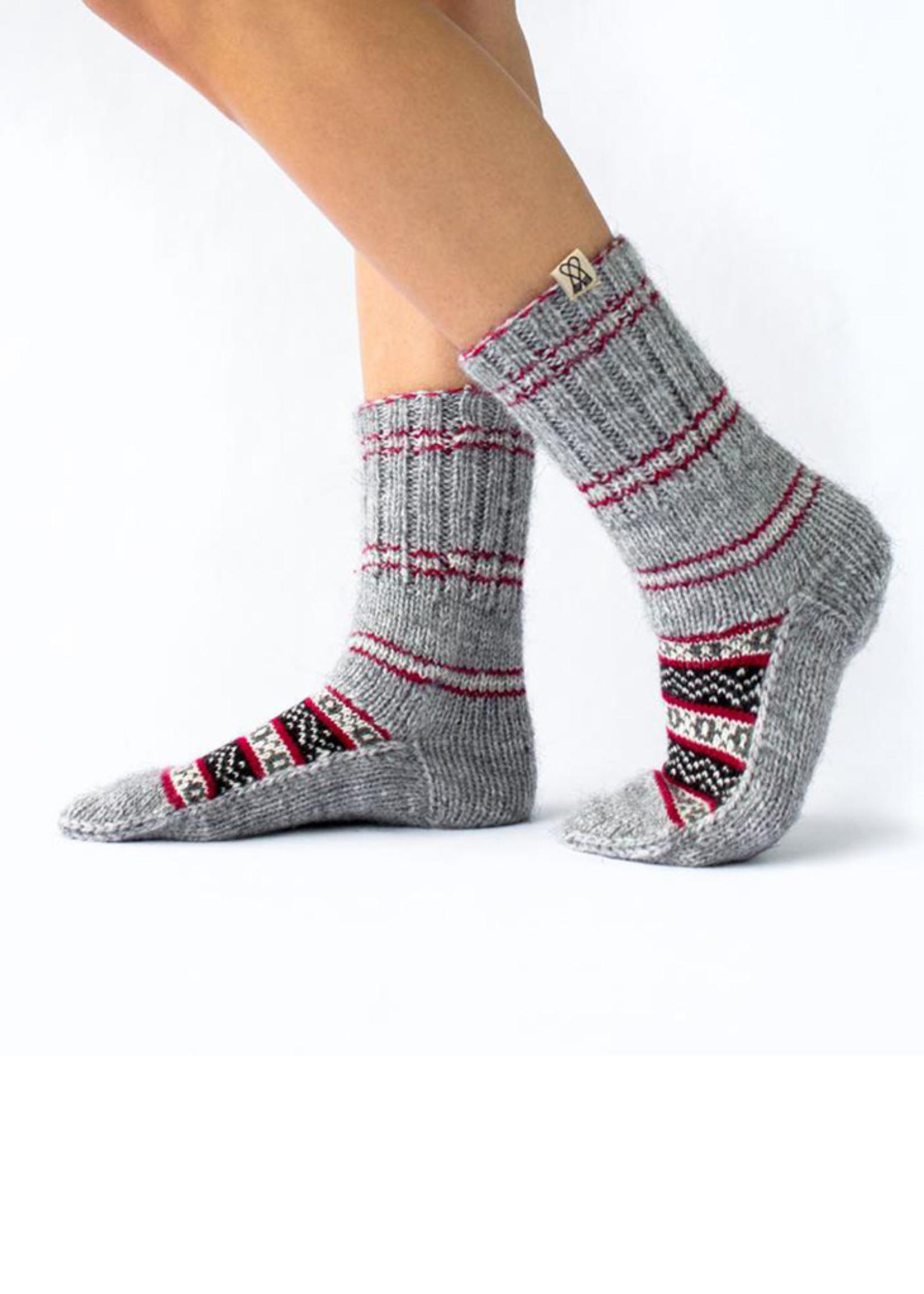Uttar (North) Grey & Red Socks