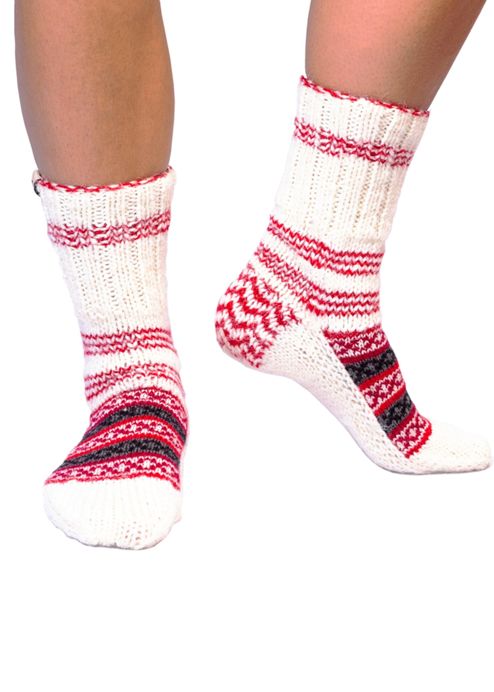 Aasha (Hope) Cream & Red Socks
