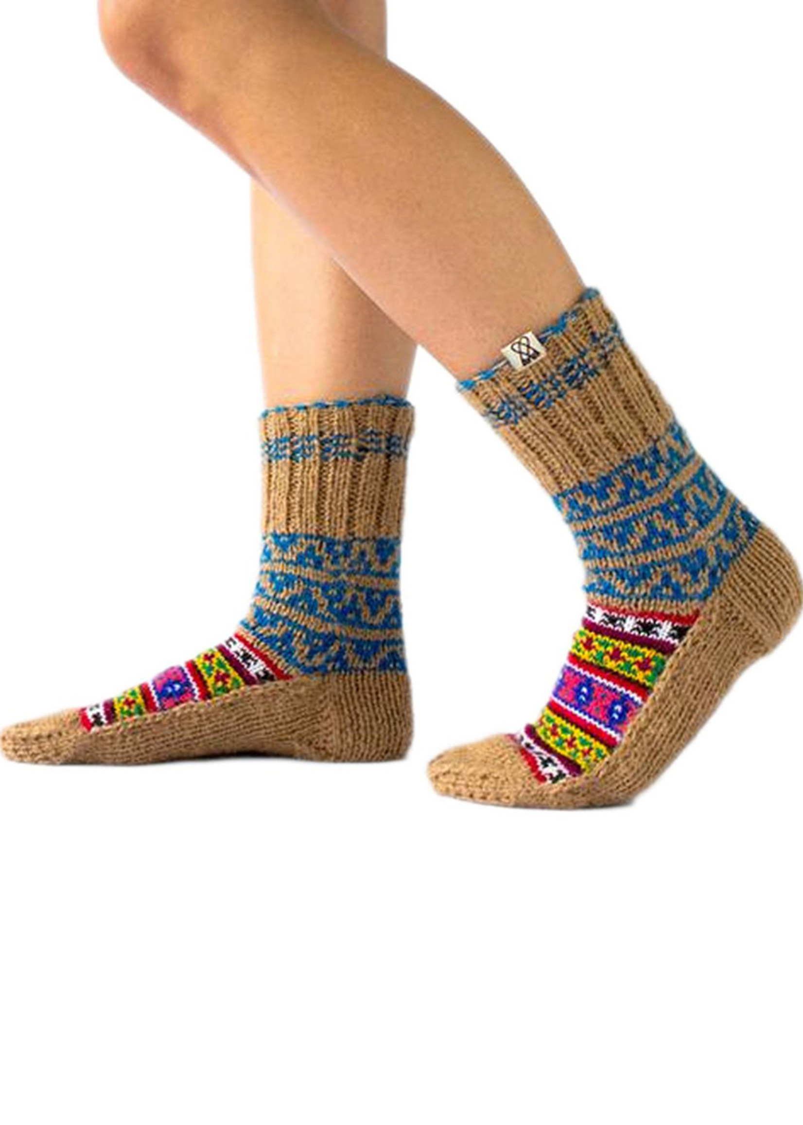 Chai (Tea) Brown & Blue Socks