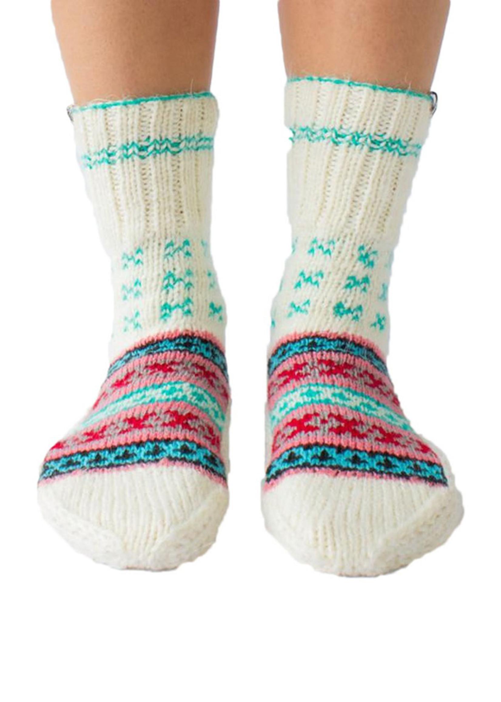 Parivaar (Family) Cream & Turquoise Socks