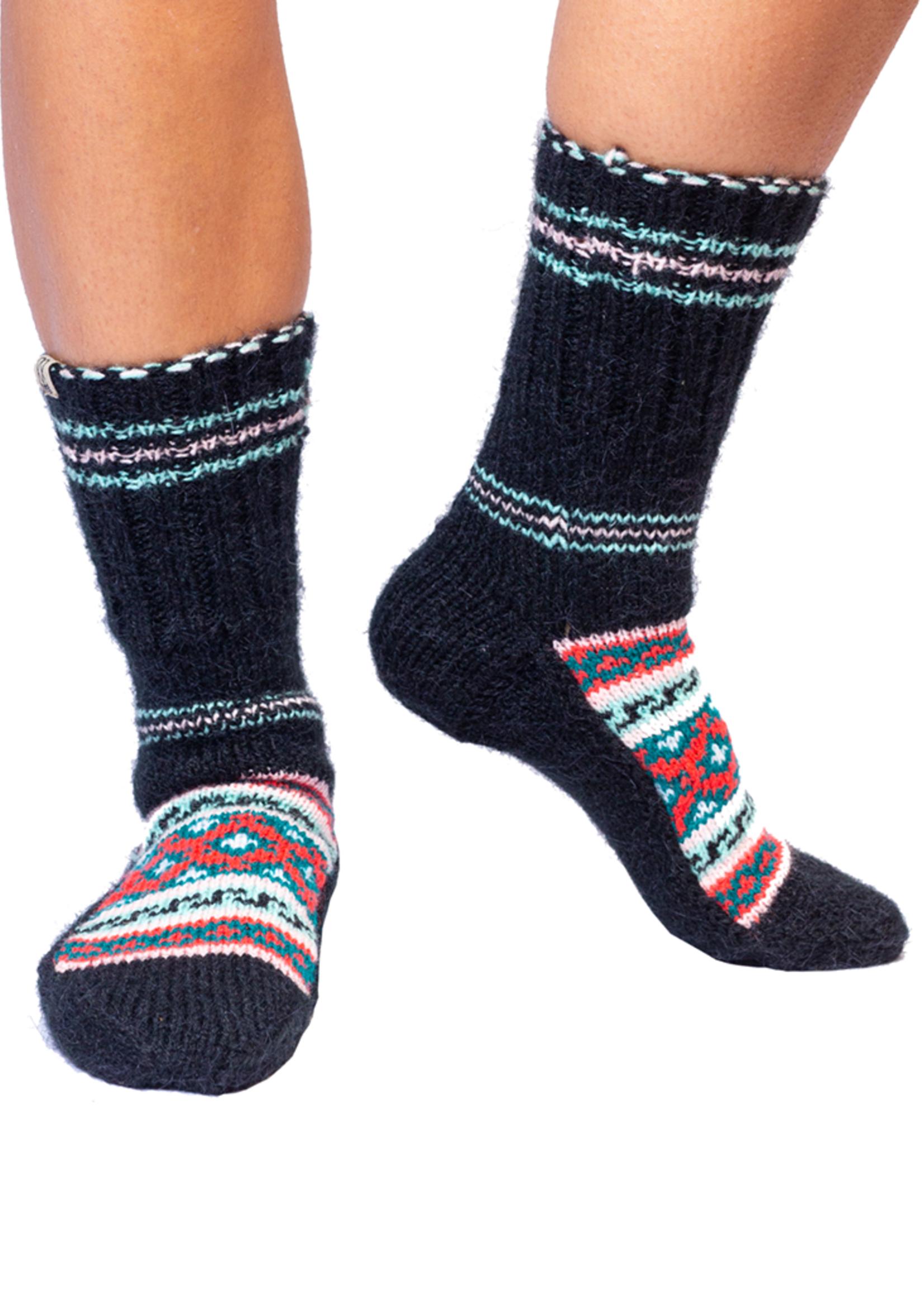 Raajasee (Royal) Black and Coral Socks