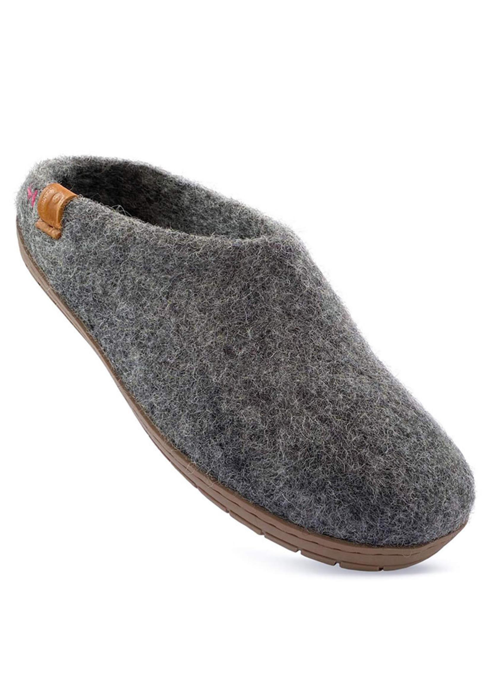 Baabushka Dark Grey Slipper Wool With Rubber Soles