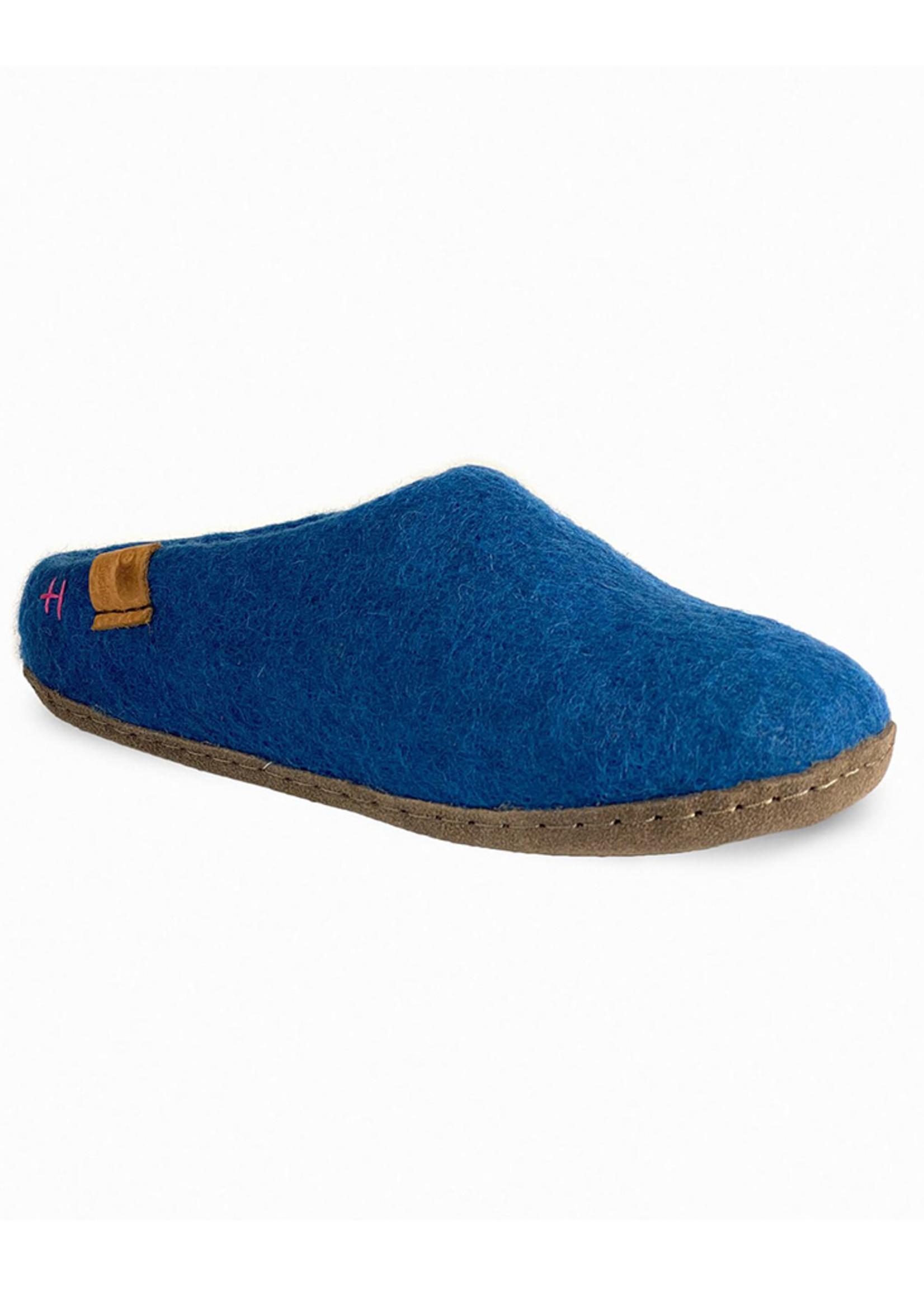 Baabushka Denim Blue Wool Slippers