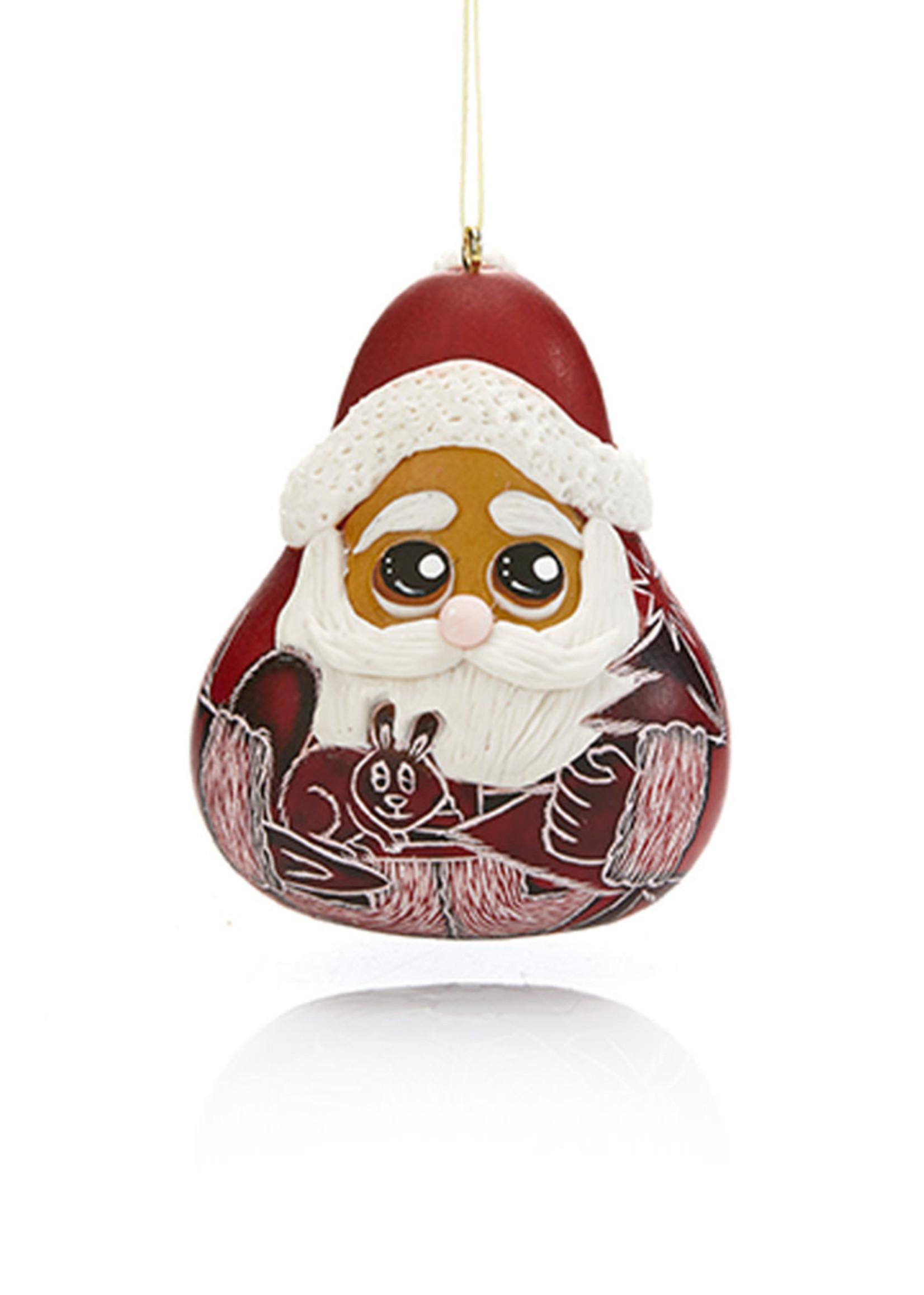 Jolly Santa Gourd Ornament
