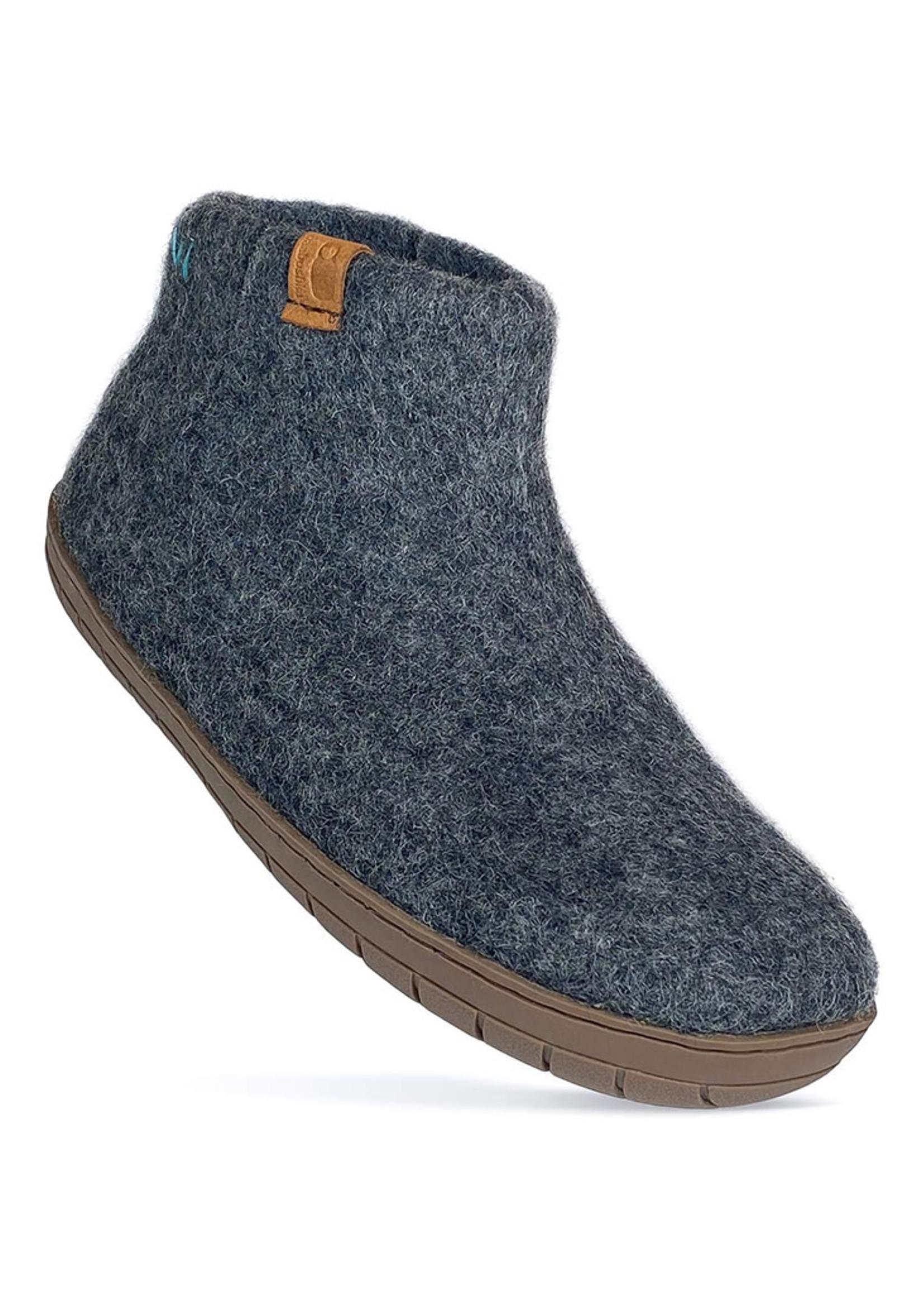 Baabushka Dark Grey Booties Wool With Rubber Sole